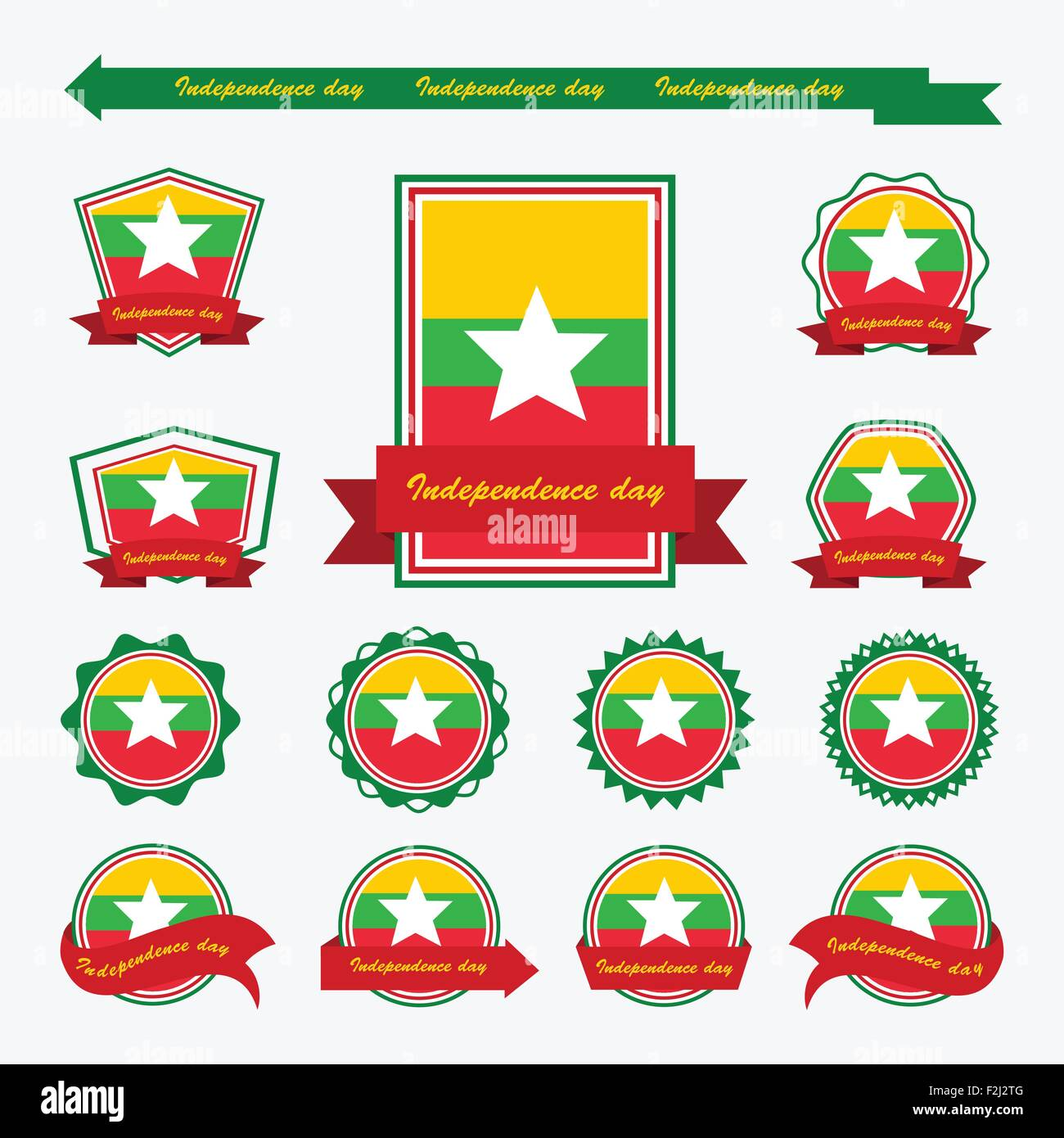 myanmar independence day flags infographic design - Stock Vector