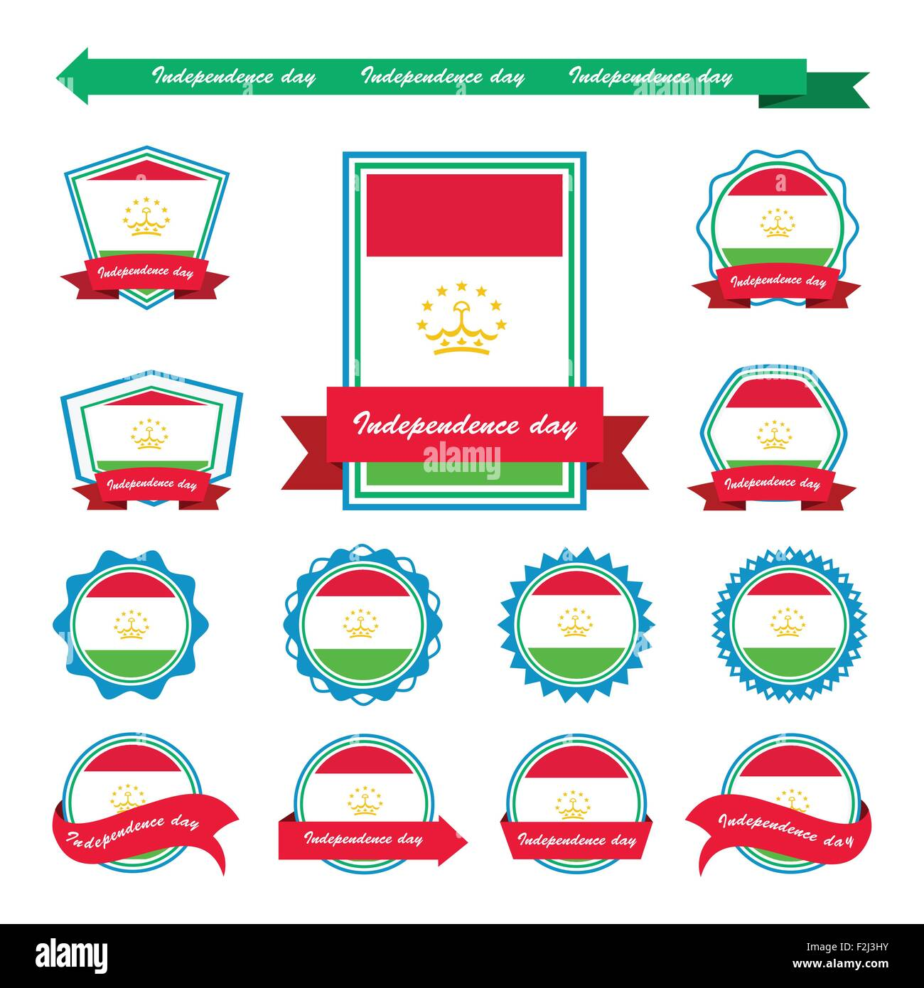 Tajikistan independence day flags infographic design - Stock Vector