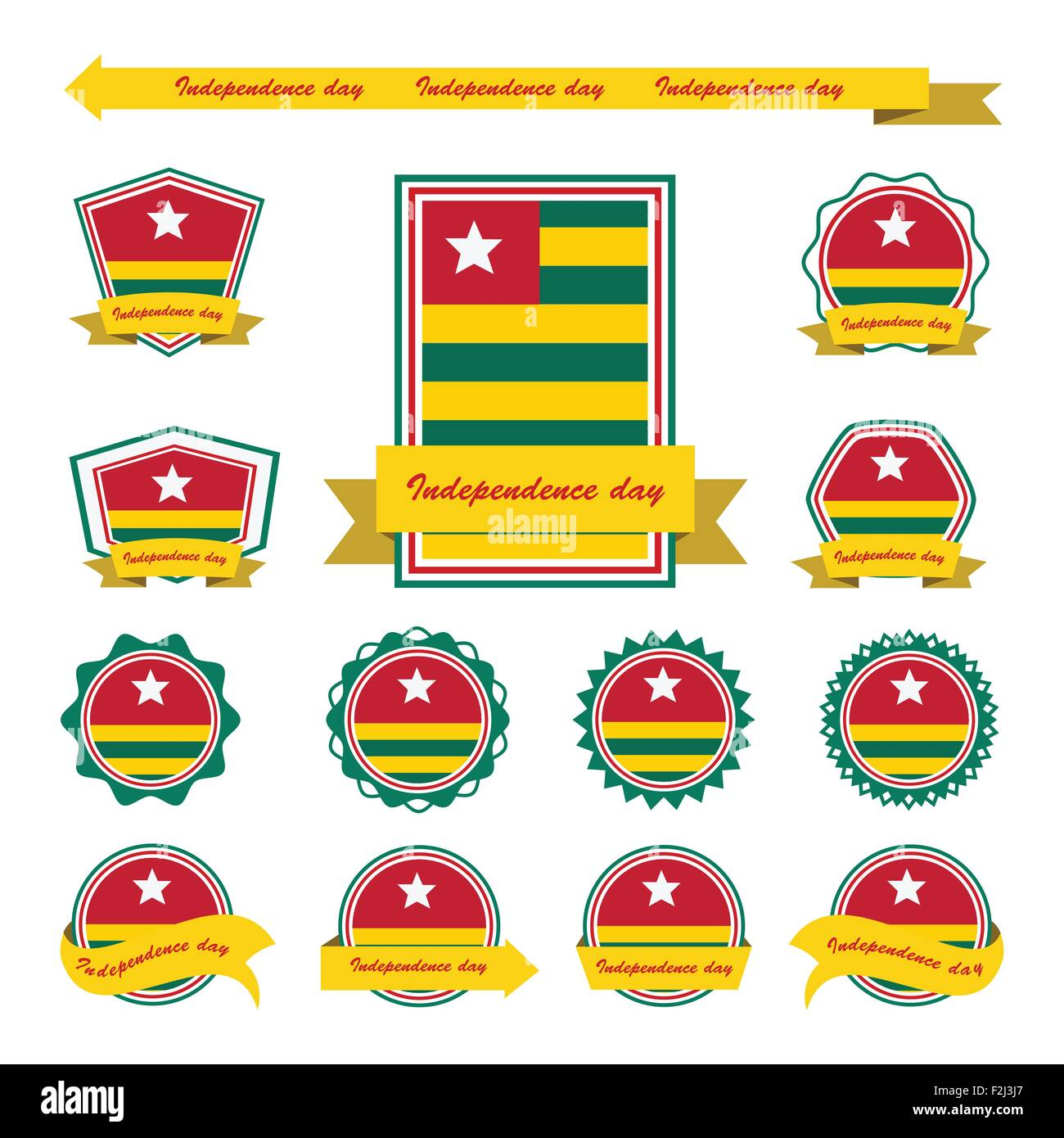 togo independence day flags infographic design - Stock Vector