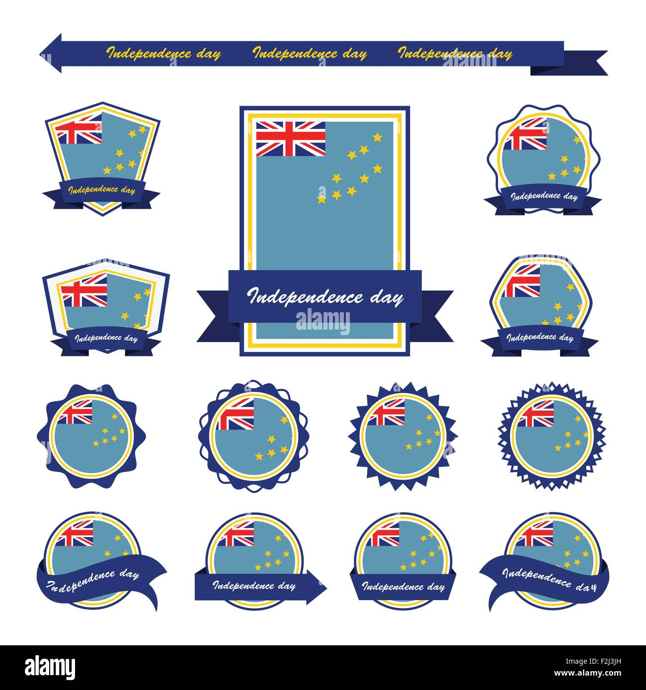Tuvalu independence day flags infographic design - Stock Vector