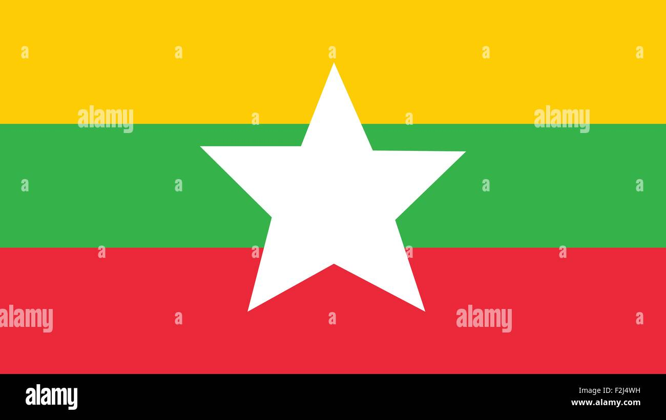 myanmar Flag for Independence Day and infographic Vector illustration. - Stock Vector
