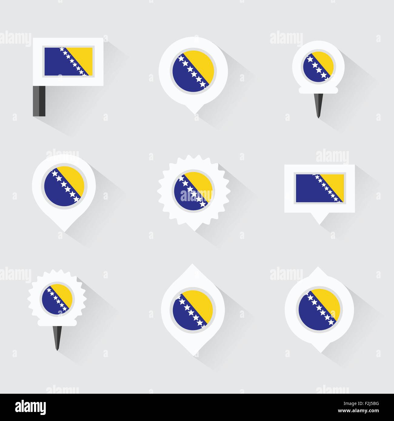 bosnia and herzegovina flag and pins for infographic, and map design - Stock Vector