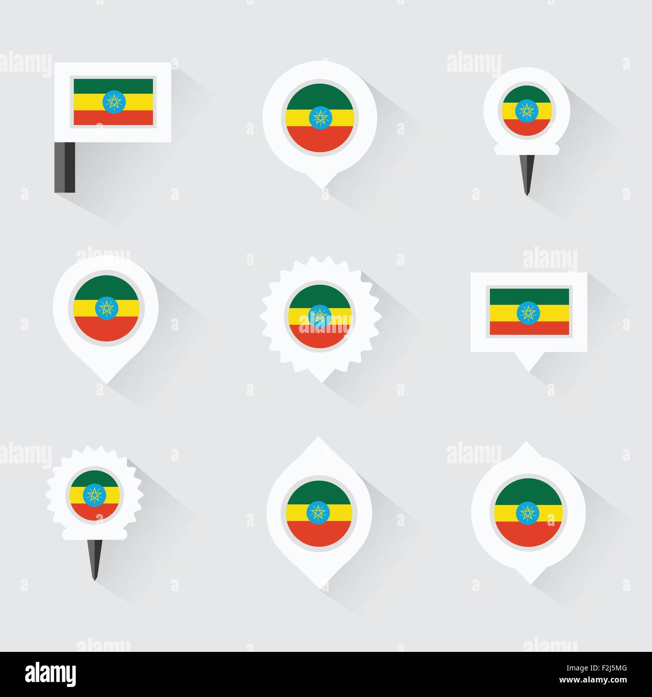 ethiopia  flag and pins for infographic, and map design - Stock Vector