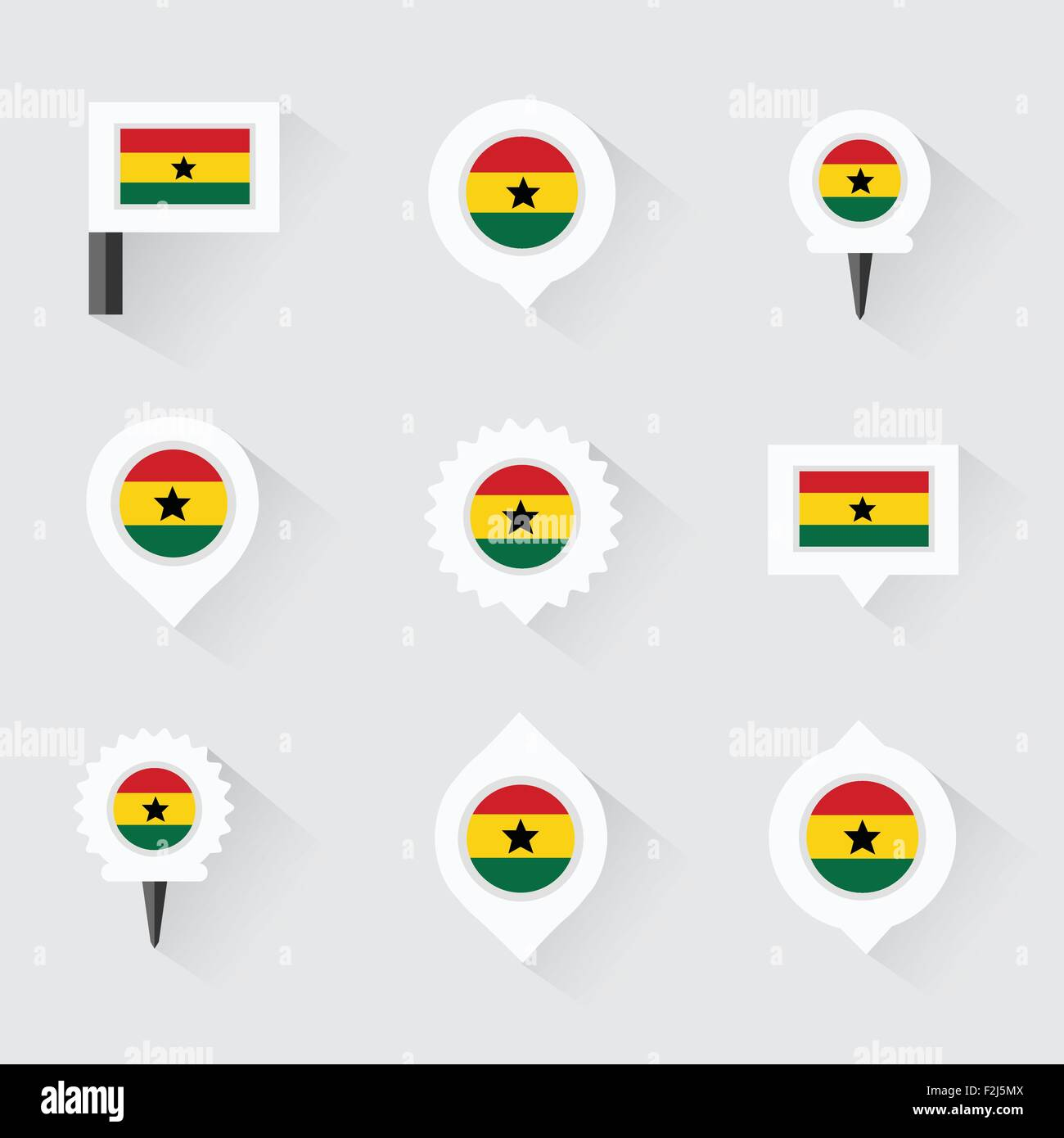 ghana flag and pins for infographic, and map design - Stock Vector
