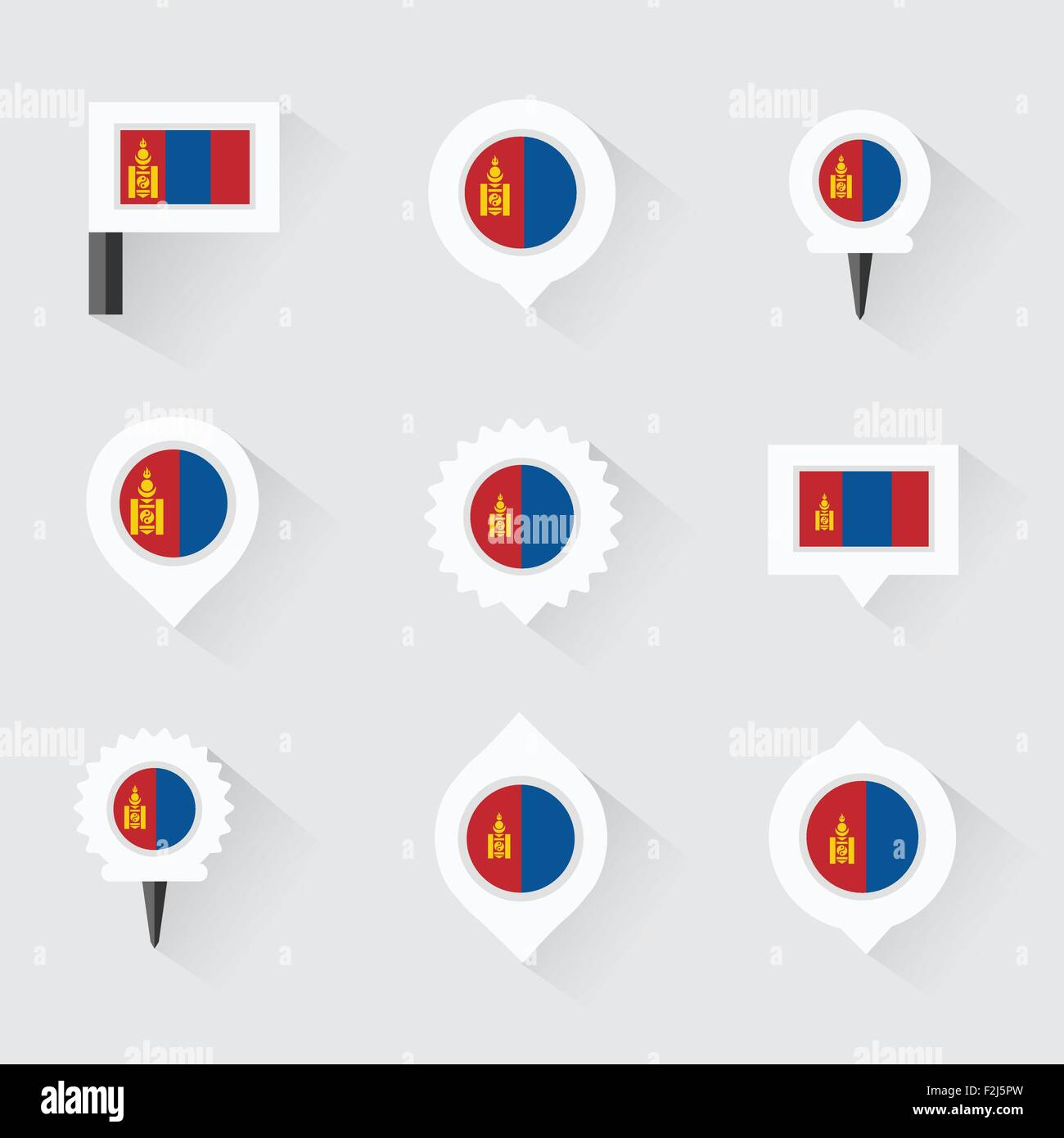 mongolia flag and pins for infographic, and map design - Stock Vector