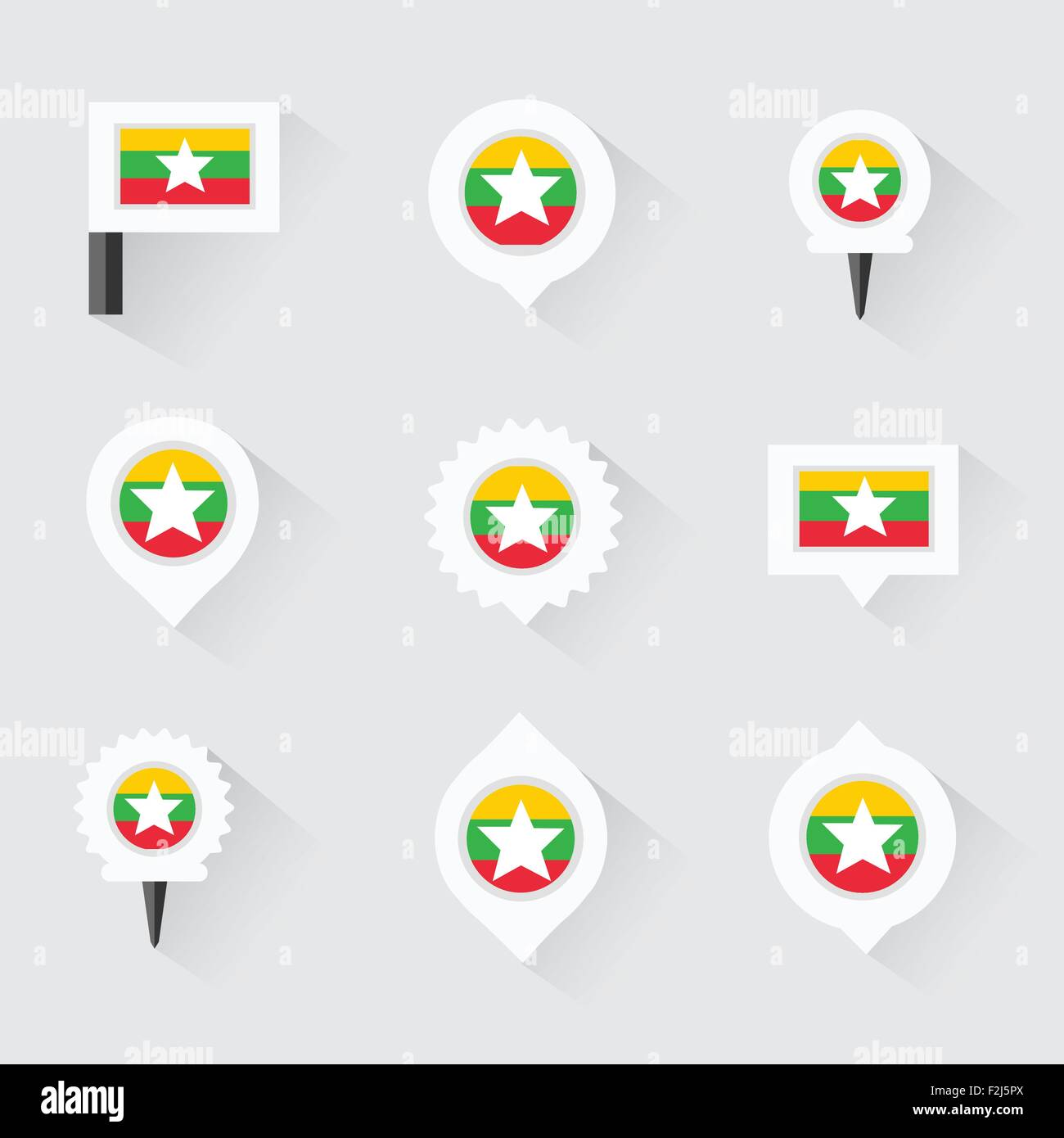 myanmar flag and pins for infographic, and map design - Stock Vector