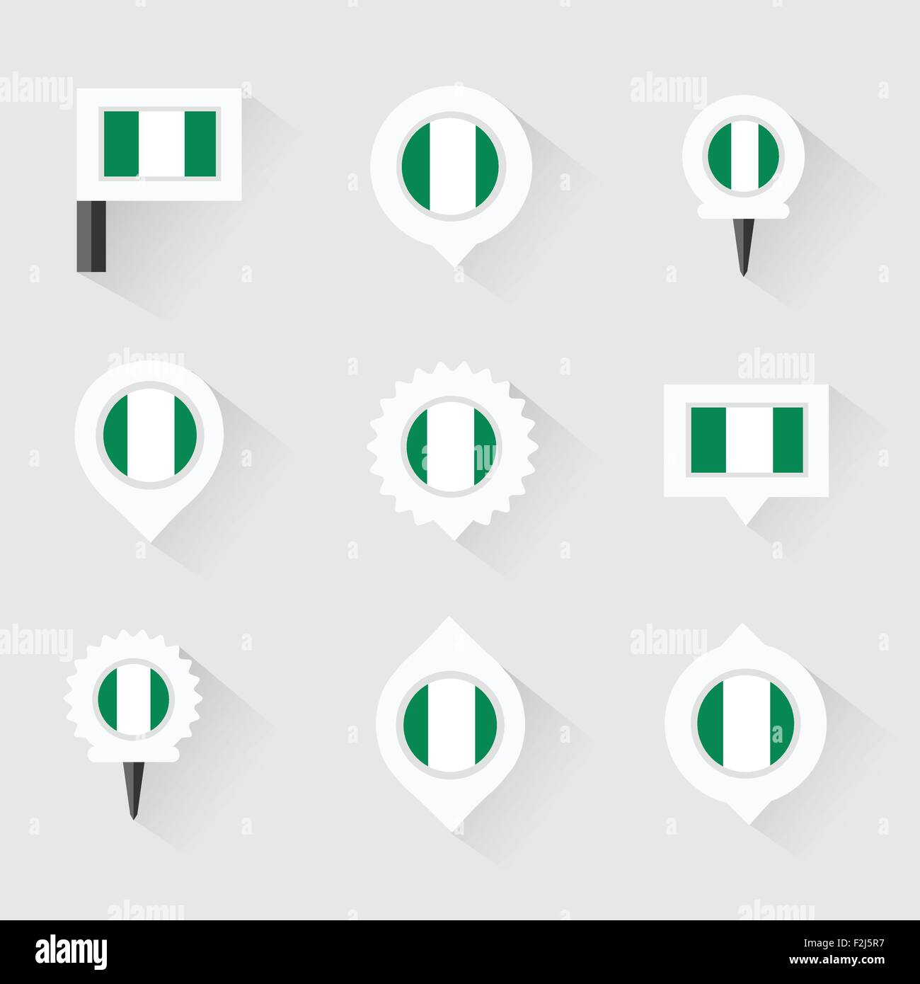nigeria flag and pins for infographic, and map design - Stock Vector