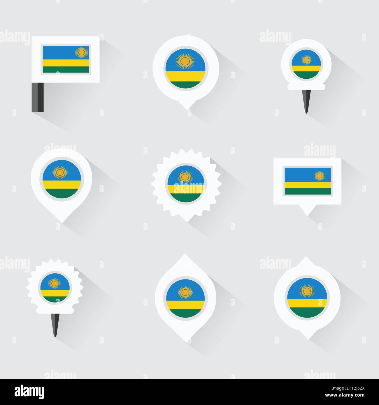 Rwanda flag and pins for infographic, and map design - Stock Vector