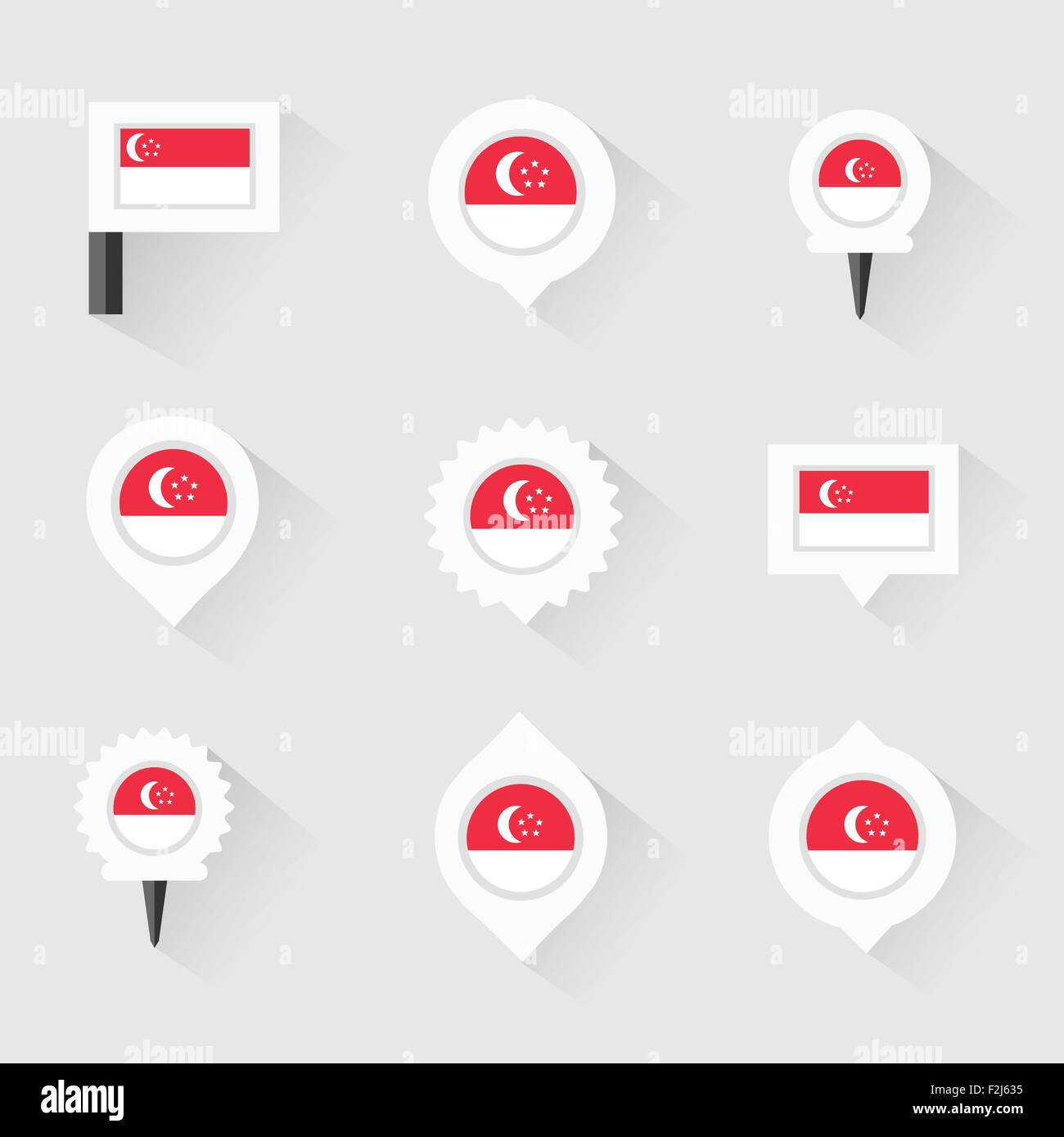 Singapore Flag And Pins For Infographic And Map Design Stock Vector - Flag pins for maps