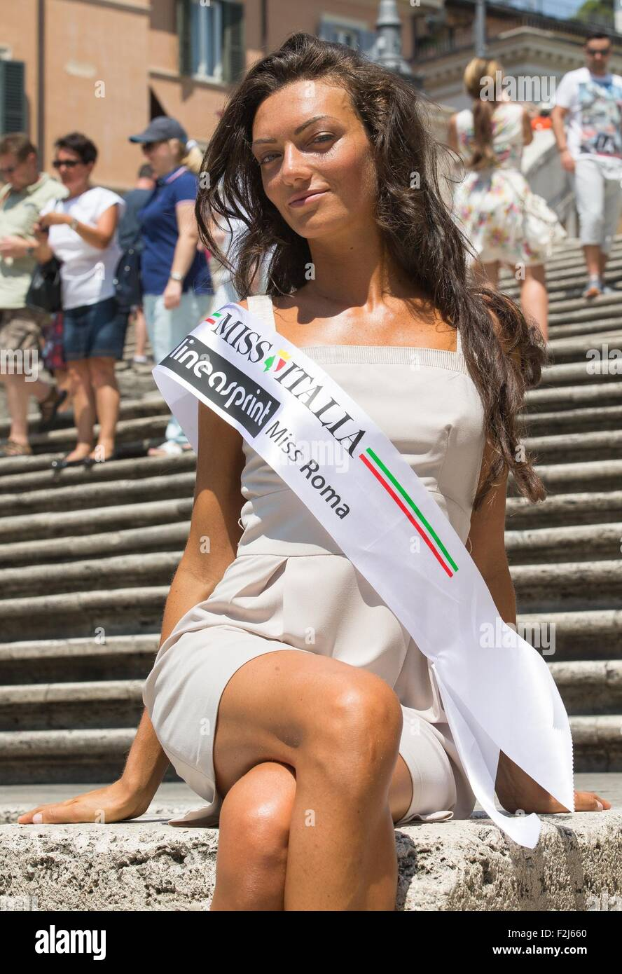 best service e8459 5fbbf Miss Rome 2015 Claudia Guidi poses for pictures in the ...
