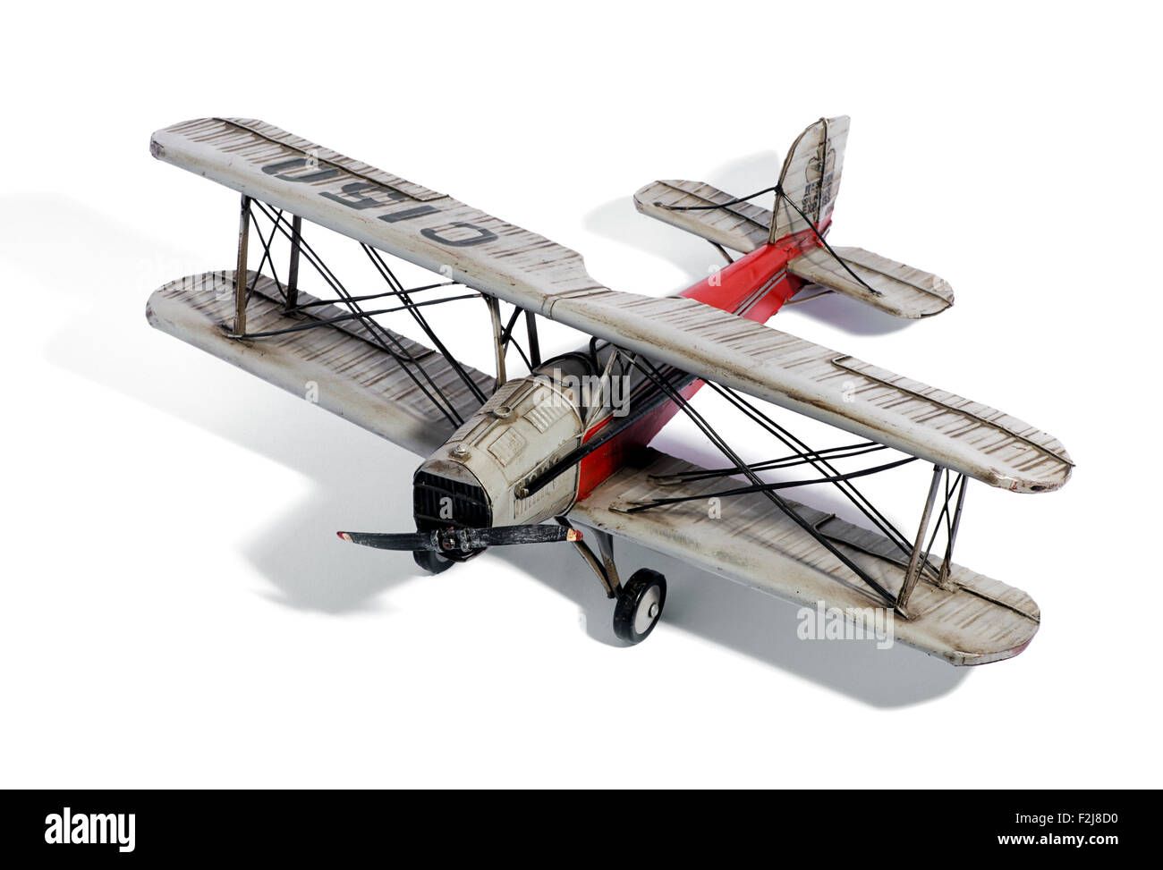 Scale model of a vintage biplane - Stock Image
