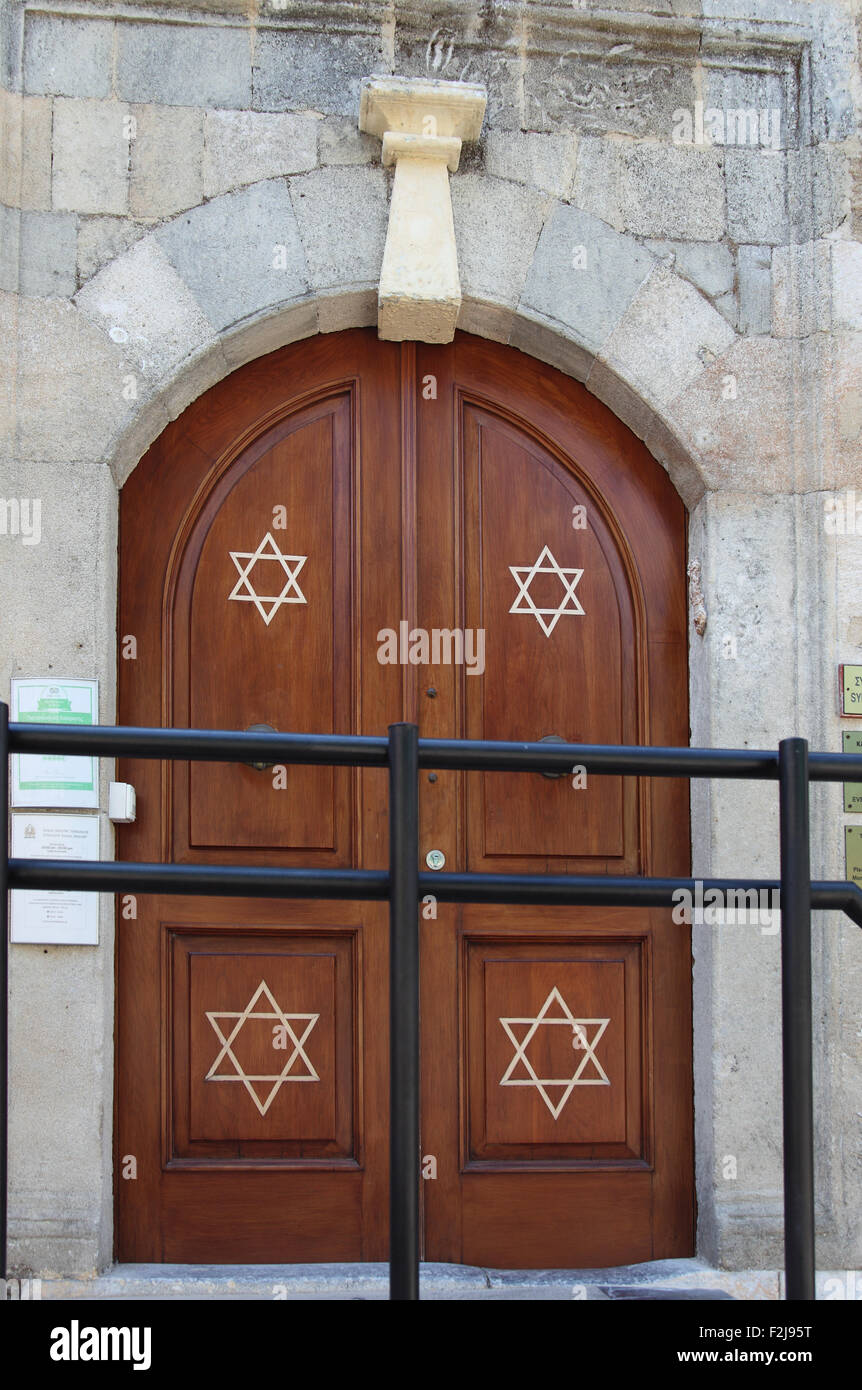 Kahal Shalom Synagogue, Old Town Rhodes - Stock Image