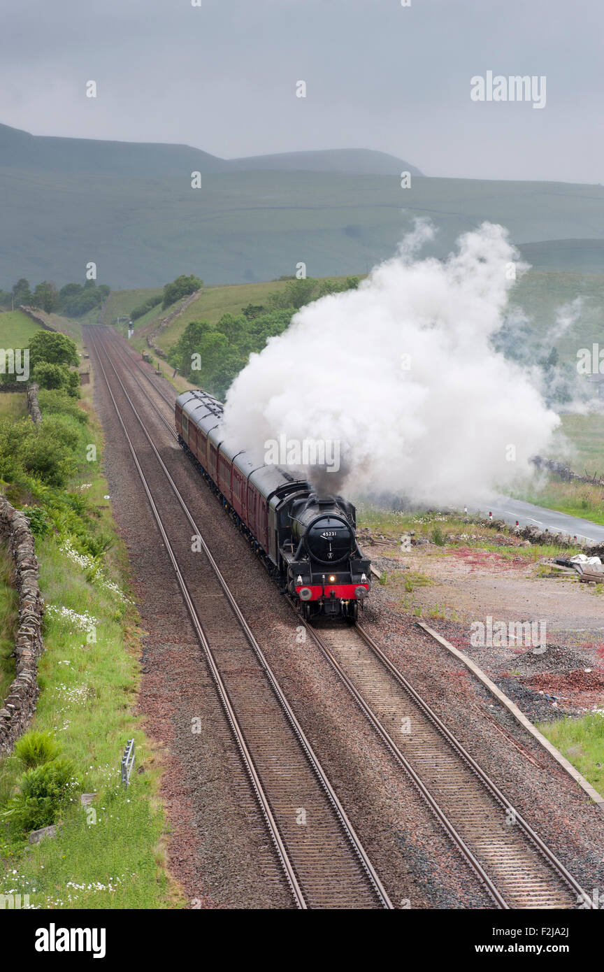 lMS 45231 Stanier Class steam engine makes its way up the Aisgill Straight on the Settle to Carlisle railway, UK. - Stock Image