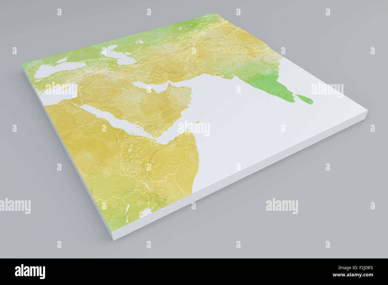 Flat physical map section of Middle East on grey background ...