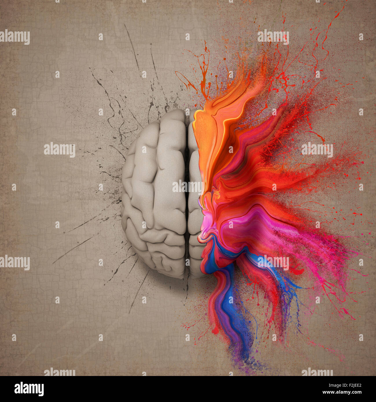 Creative mind or brain illustrated with colourful paint splatter and dispersion. Conceptual computer artwork. - Stock Image