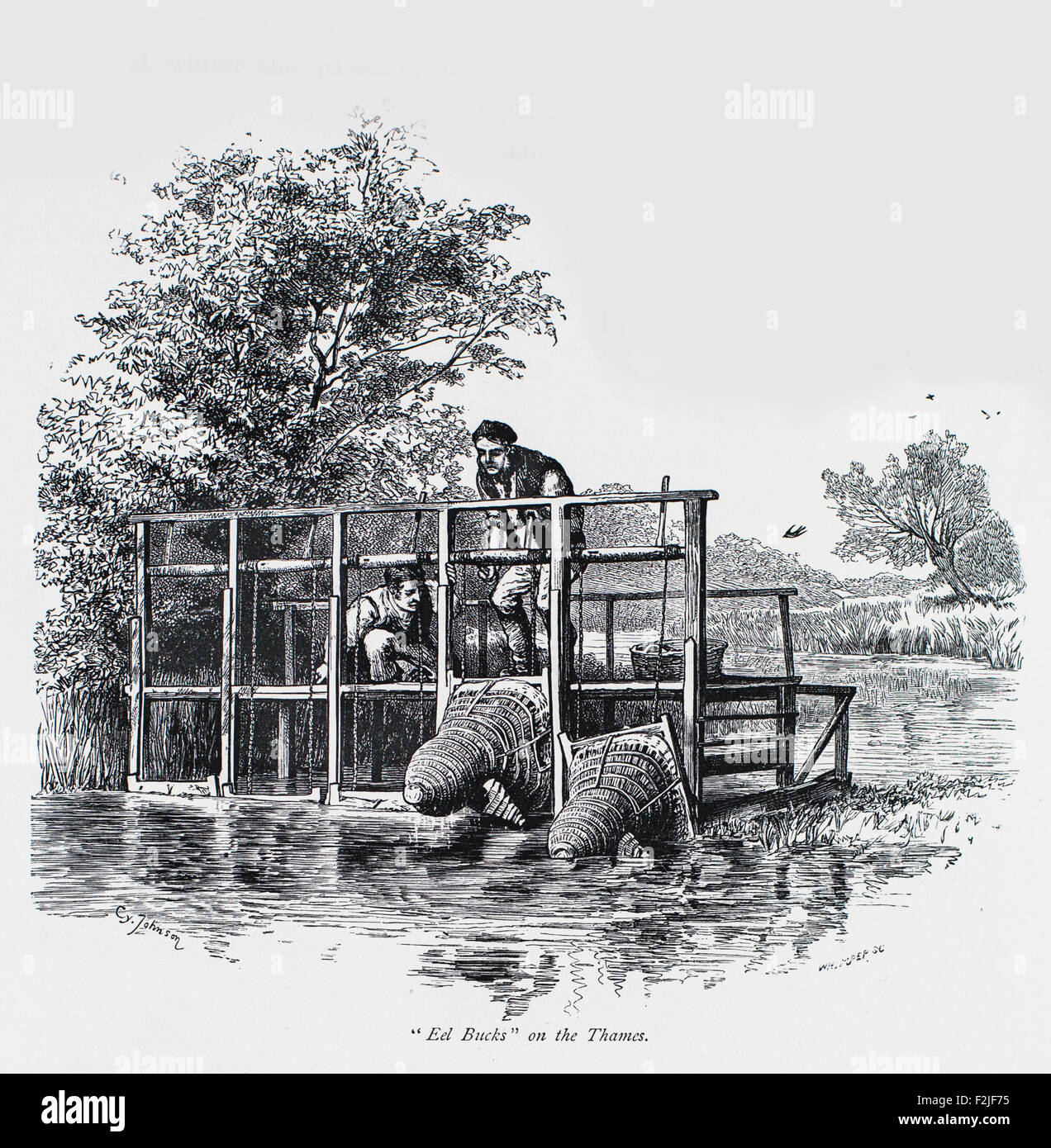 Ed Bucks on the Thames - Bells of Ousley  Illustration from 'The British isles - Cassell Petter & Galpin Part 6 Stock Photo