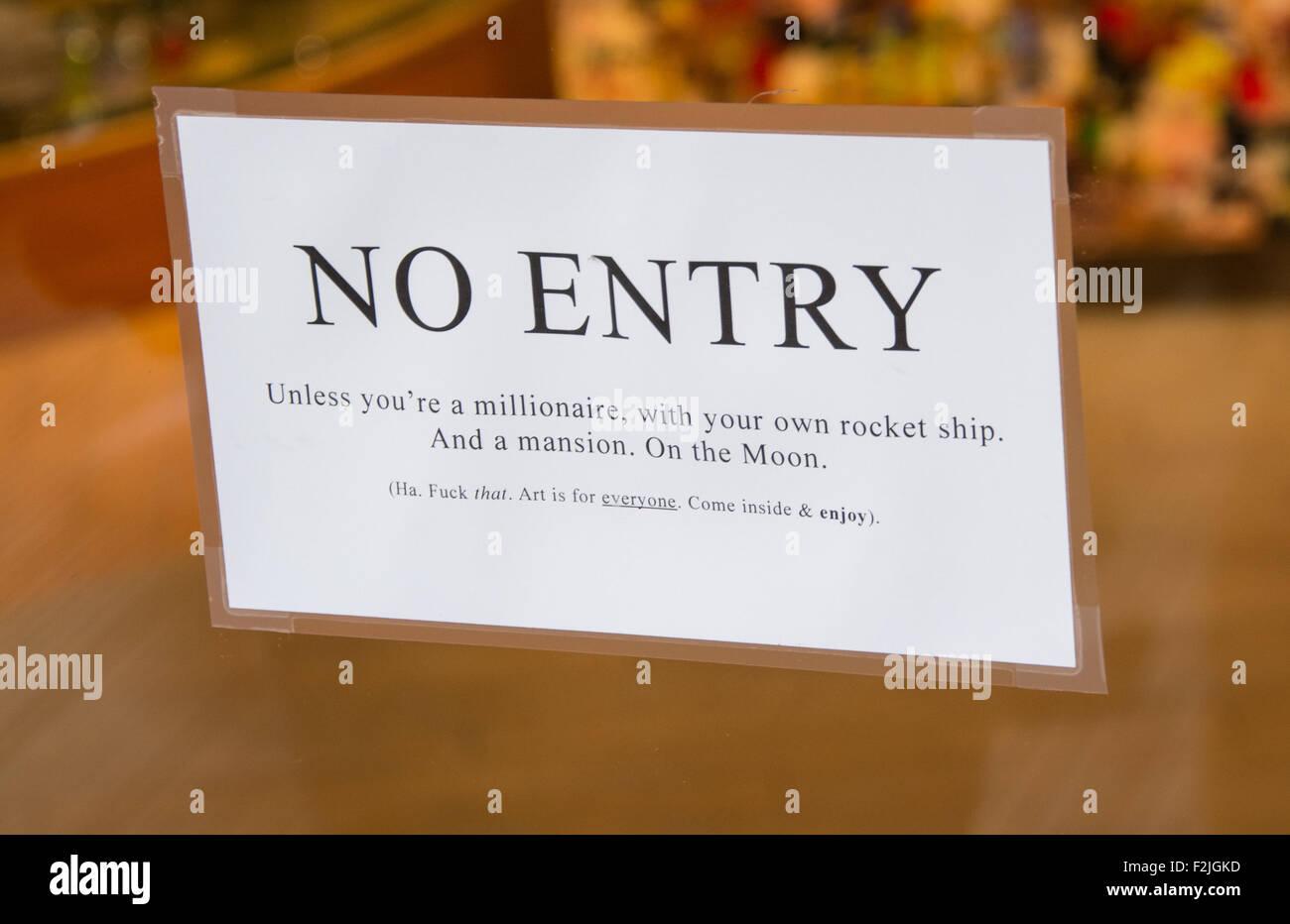 Fun No Entry Sign - Stock Image