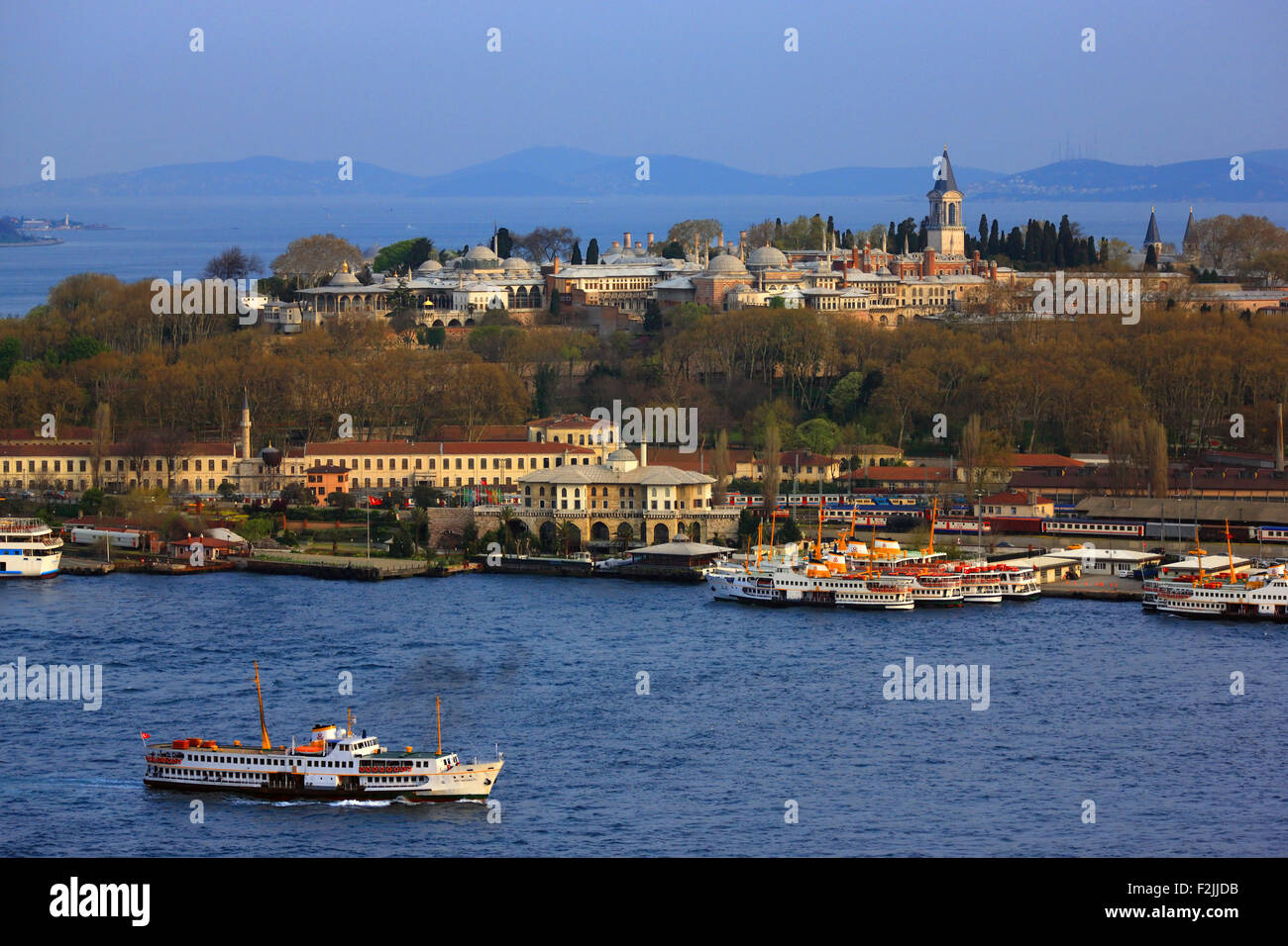 View of Topkapi palace from the Tower of Galata. You can also see the Sirkeci train station. Istanbul, Turkey - Stock Image