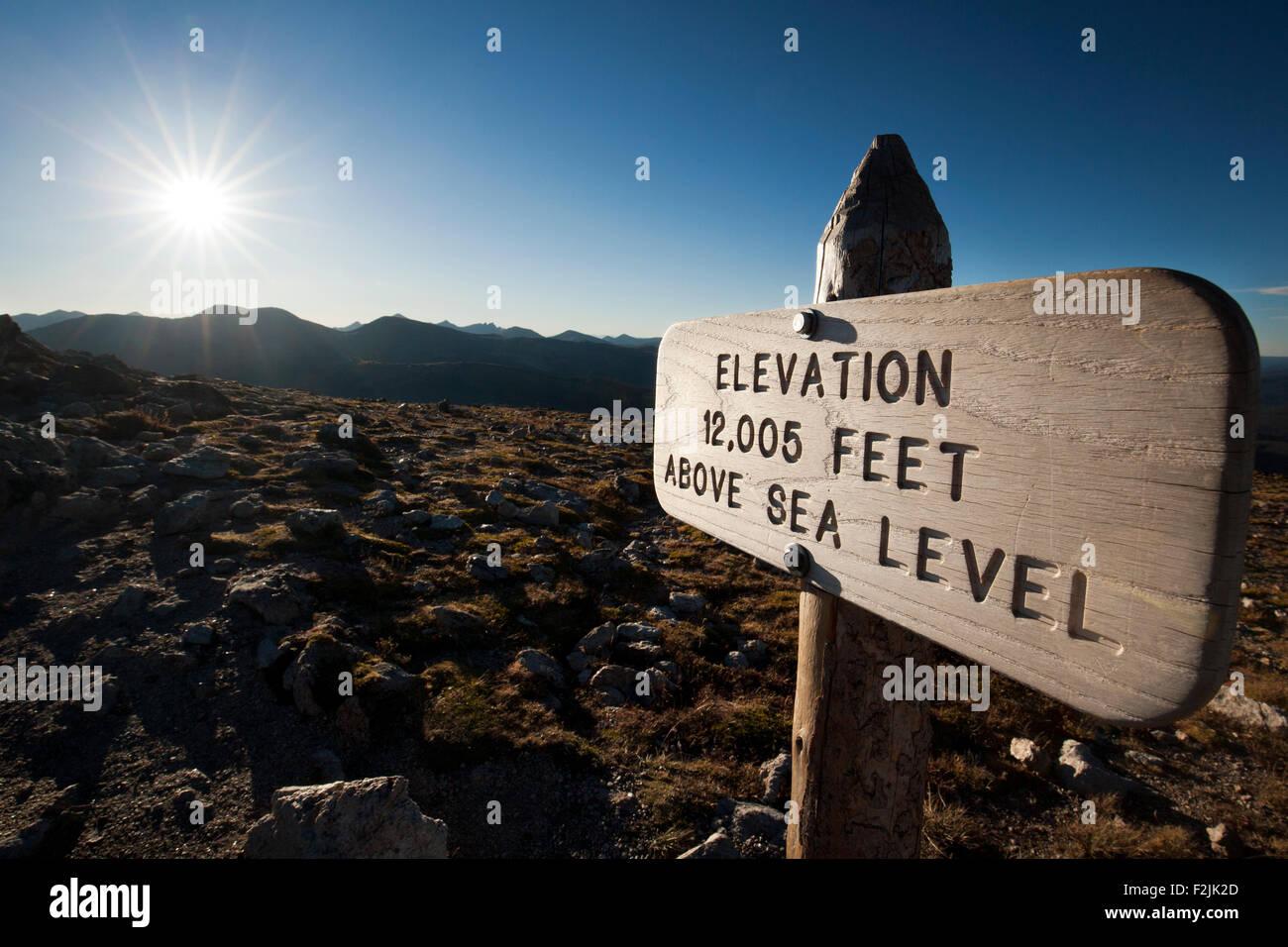 Elevation Sign 12,005 Feet - Alpine Tundra Ecosystem - Rocky Mountain National Park, near Estes Park, Colorado, - Stock Image