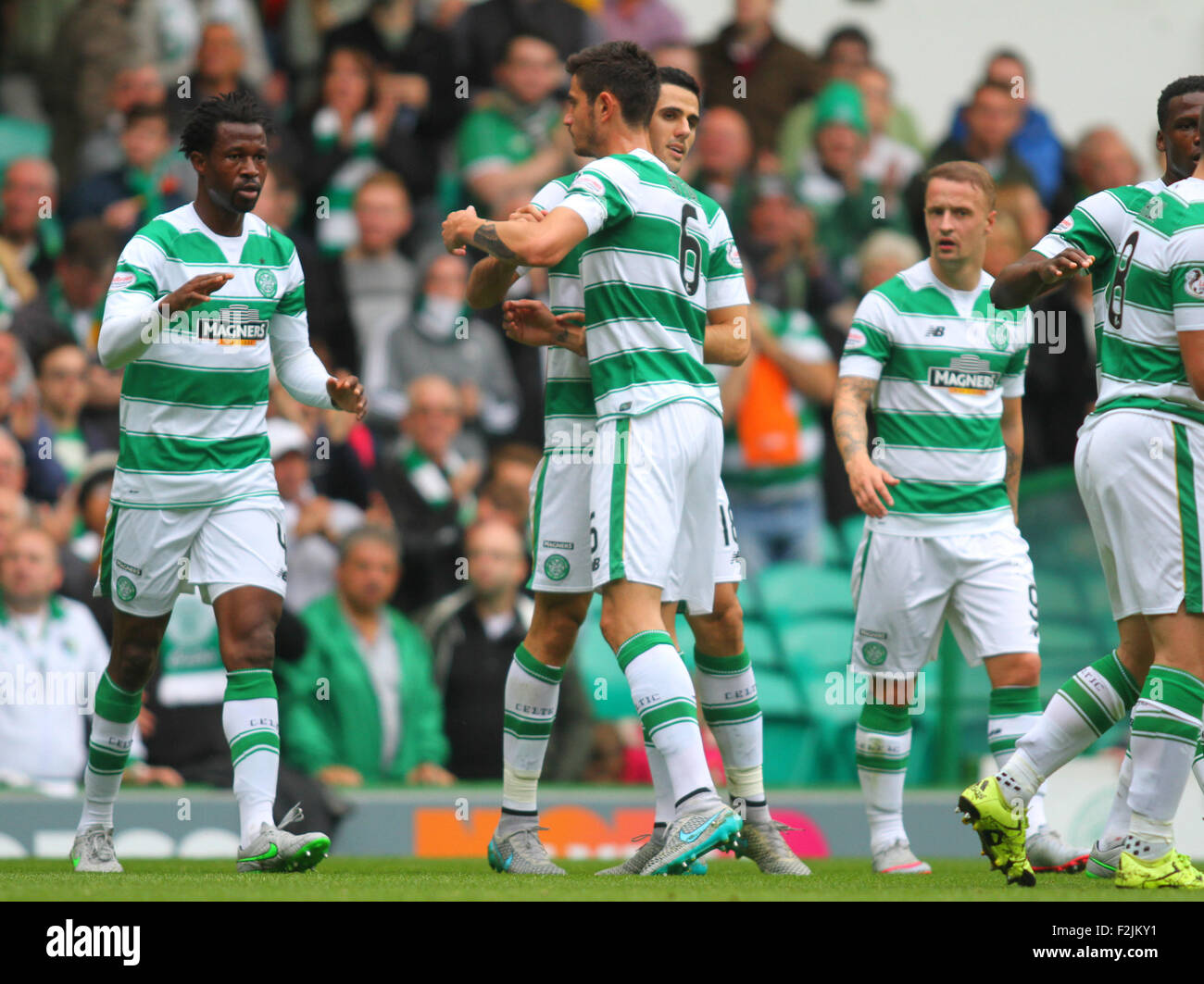 Glasgow, Scotland. 20th Sep, 2015. Scottish Premier League. Celtic versus Dundee. Tom Rogic celebrates his goal - Stock Image