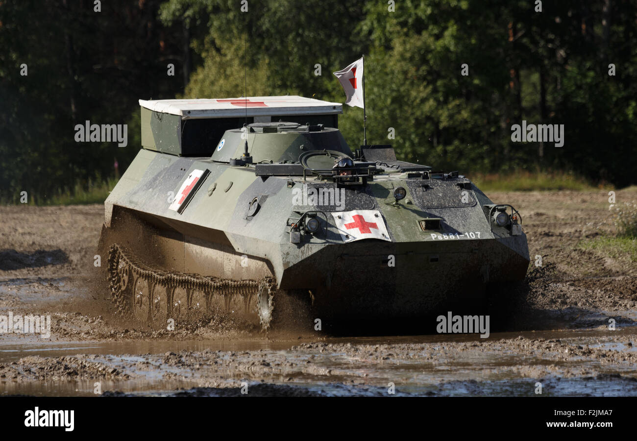 Unarmed MT-LBu tracked personnel carrier as a military ambulance of the Finnish Army for battlefield patient evacuation. - Stock Image