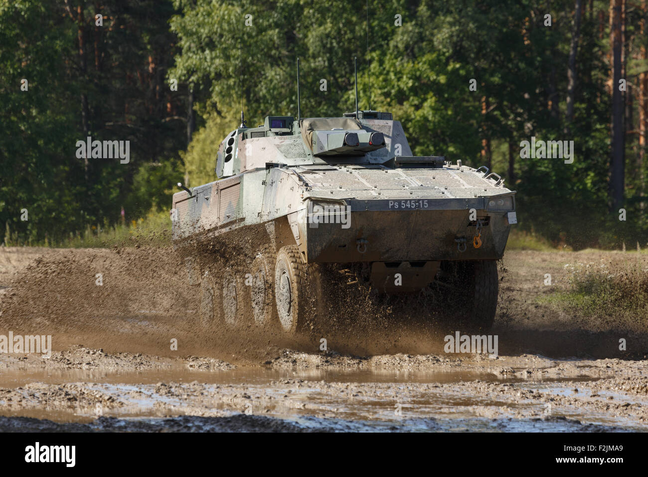 Patria XA-361 AMOS is an innovative fighting vehicle for infantry fire support with a twin 120 mm mortar capable - Stock Image
