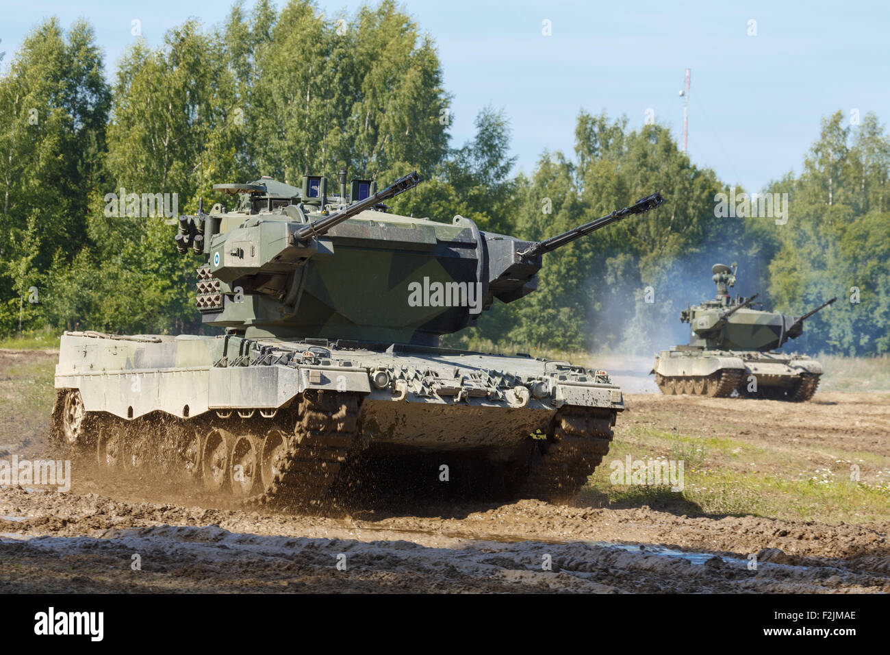 Leopard 2 Marksman self-propelled anti-aircraft gun of the Finnish Army. - Stock Image