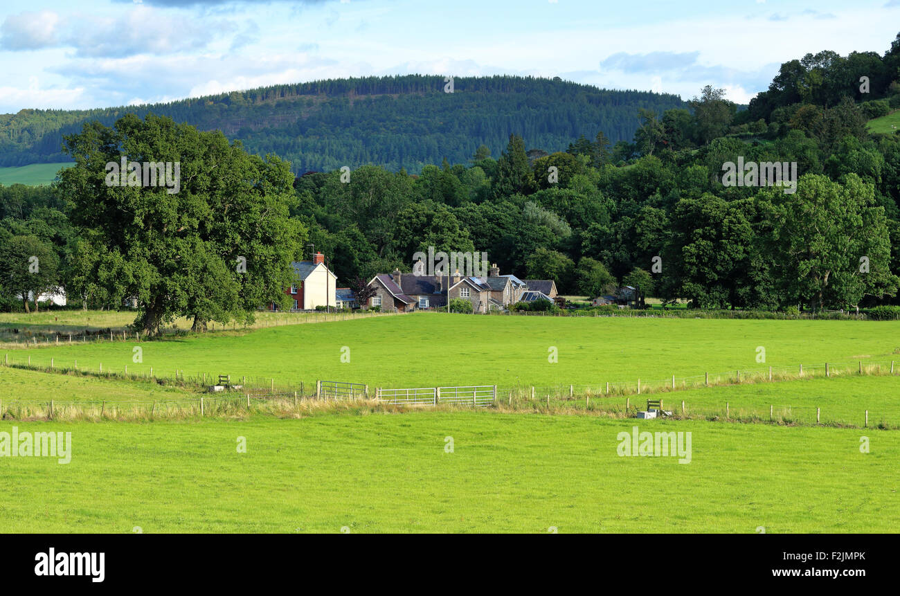 Talybont on Usk with the black mountains in the background - Stock Image