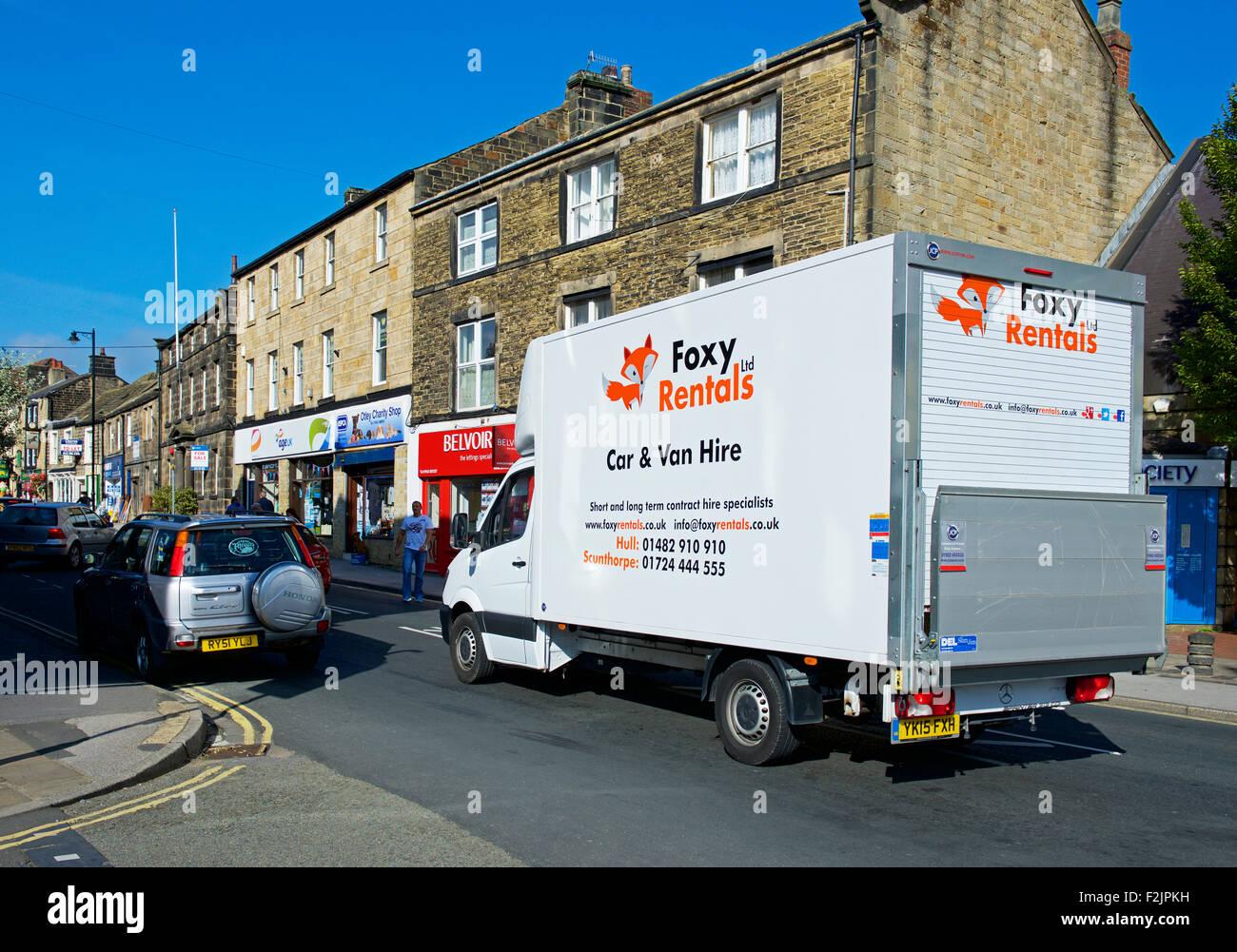 Foxy Rental rented van in Otley, West Yorkshire, England UK - Stock Image