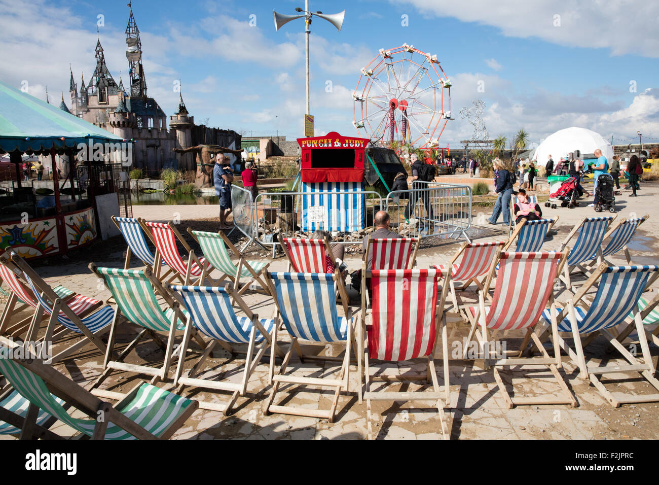 Punch and Judy show with an audience of two at Banksy's Dismaland in Weston super Mare - Stock Image