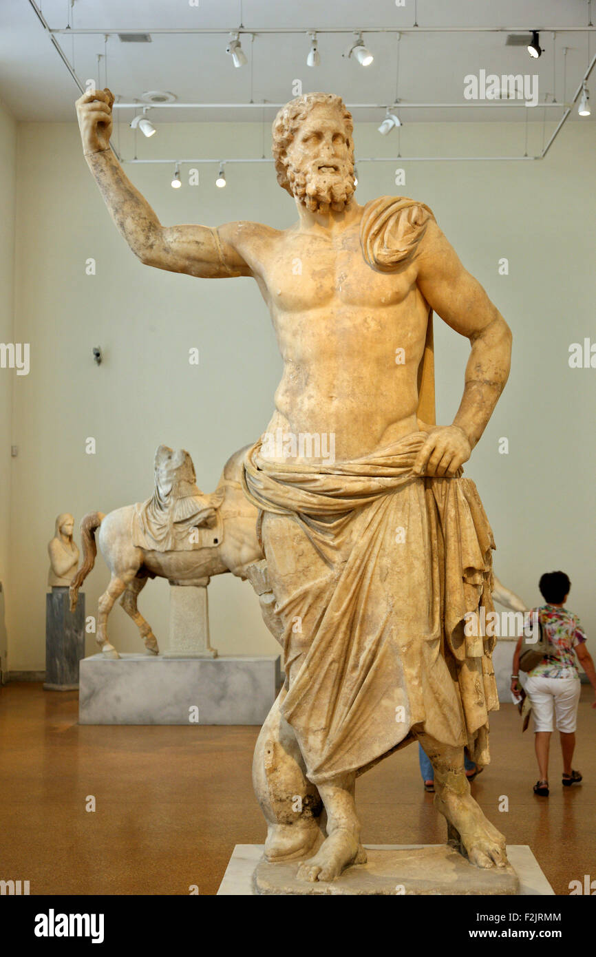 Statue of Poseidon (125 -100 BC) from Parian marble in the National archaeological museum of Athens, Greece. - Stock Image