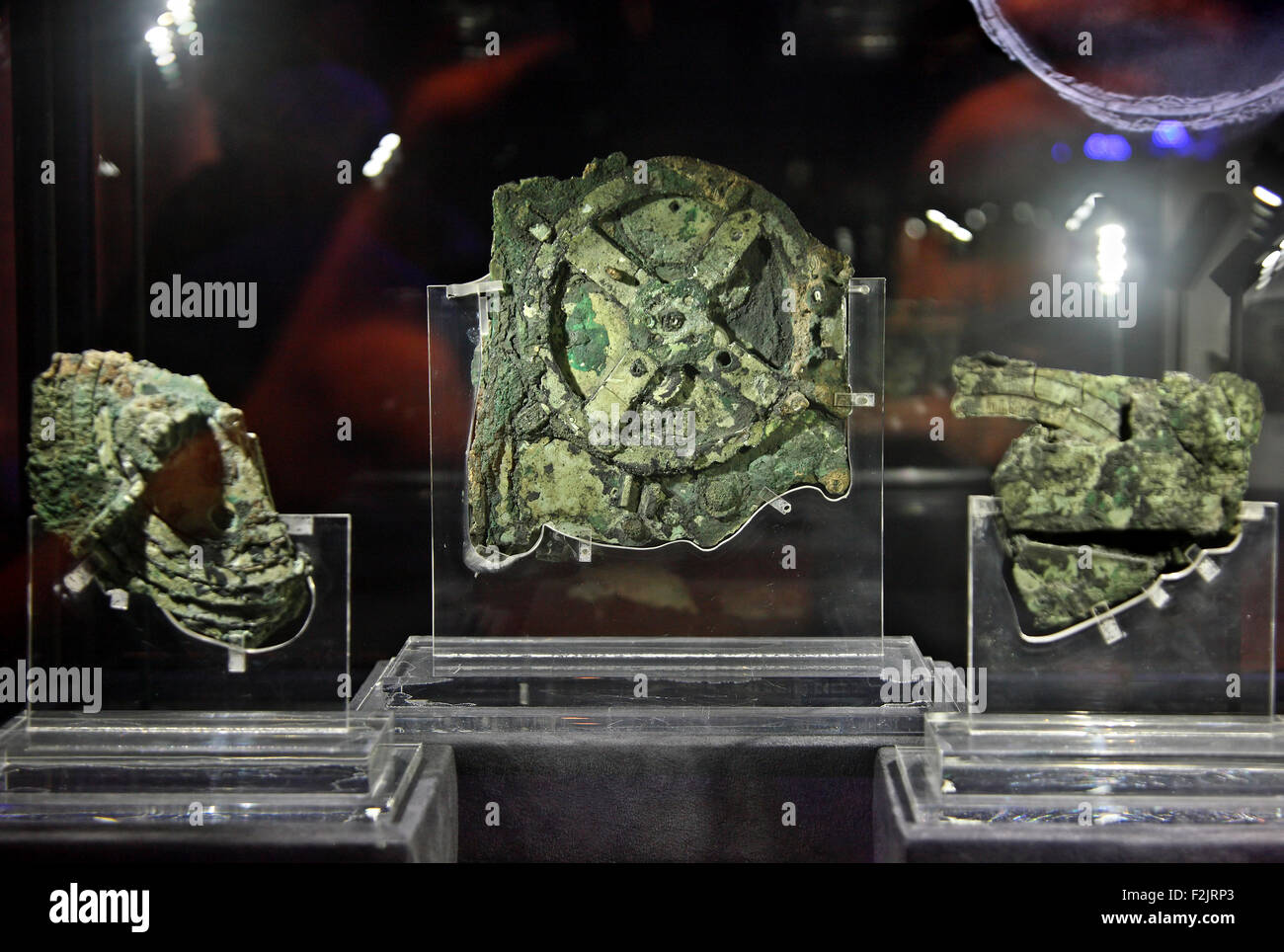 The Antikythera mechanism, world's oldest 'computer' in the National Archaeological Museum of Athens, - Stock Image