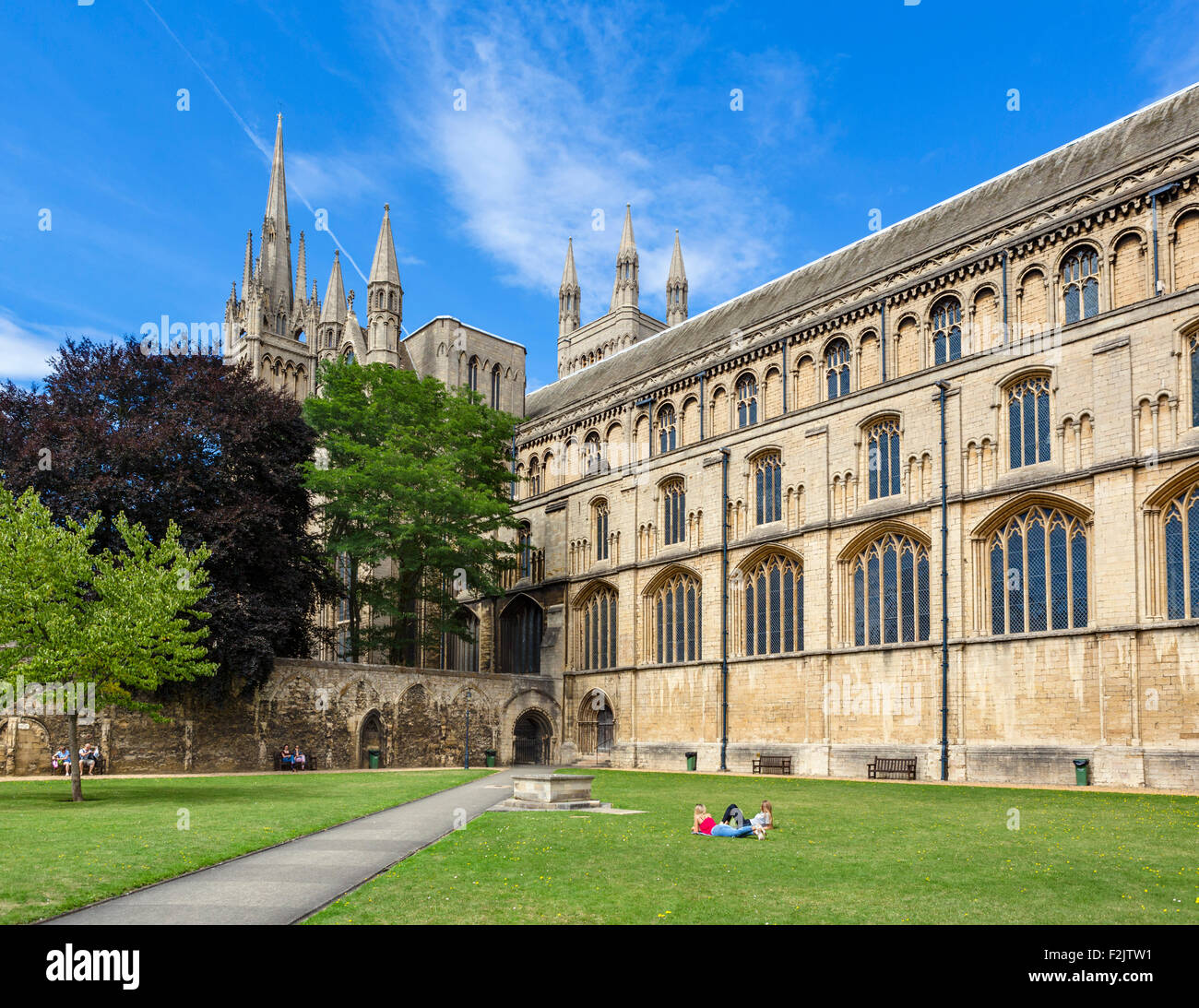 Peterborough Cathedral from the Cloisters, Peterborough, Cambridgeshire, England, UK - Stock Image