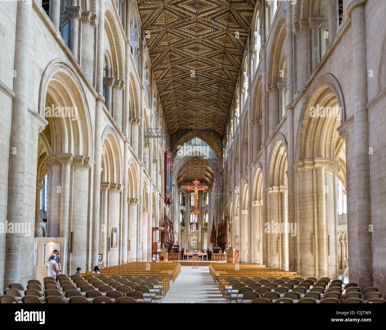 The nave of Peterborough Cathedral, Peterborough, Cambridgeshire, England, UK - Stock Image