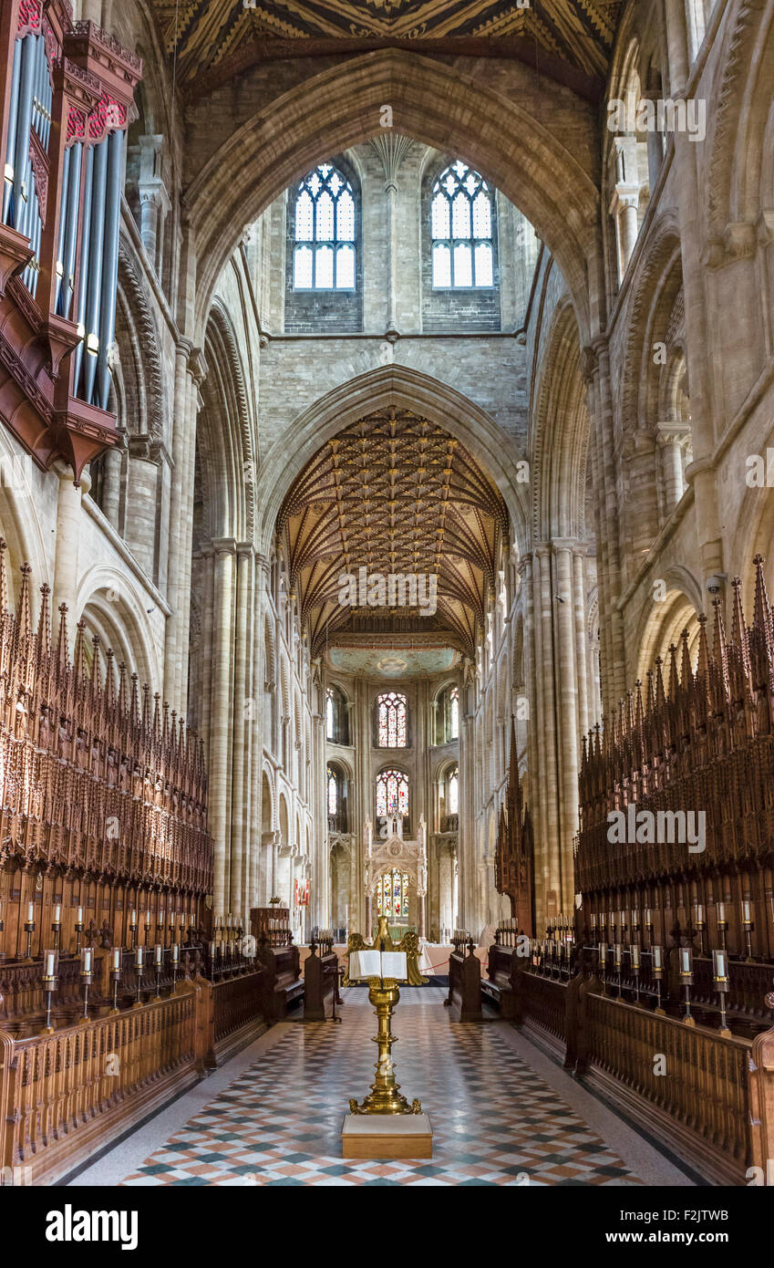 The choir in Peterborough Cathedral, Peterborough, Cambridgeshire, England, UK - Stock Image