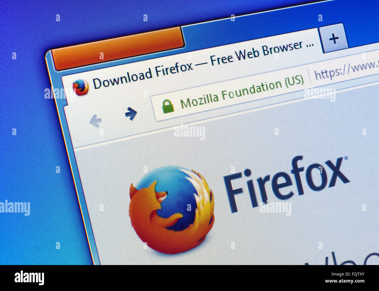 GDANSK, POLAND - JULY 07, 2015. Firefox homepage on computer screen. Mozilla Firefox  is a free and open-source - Stock Image