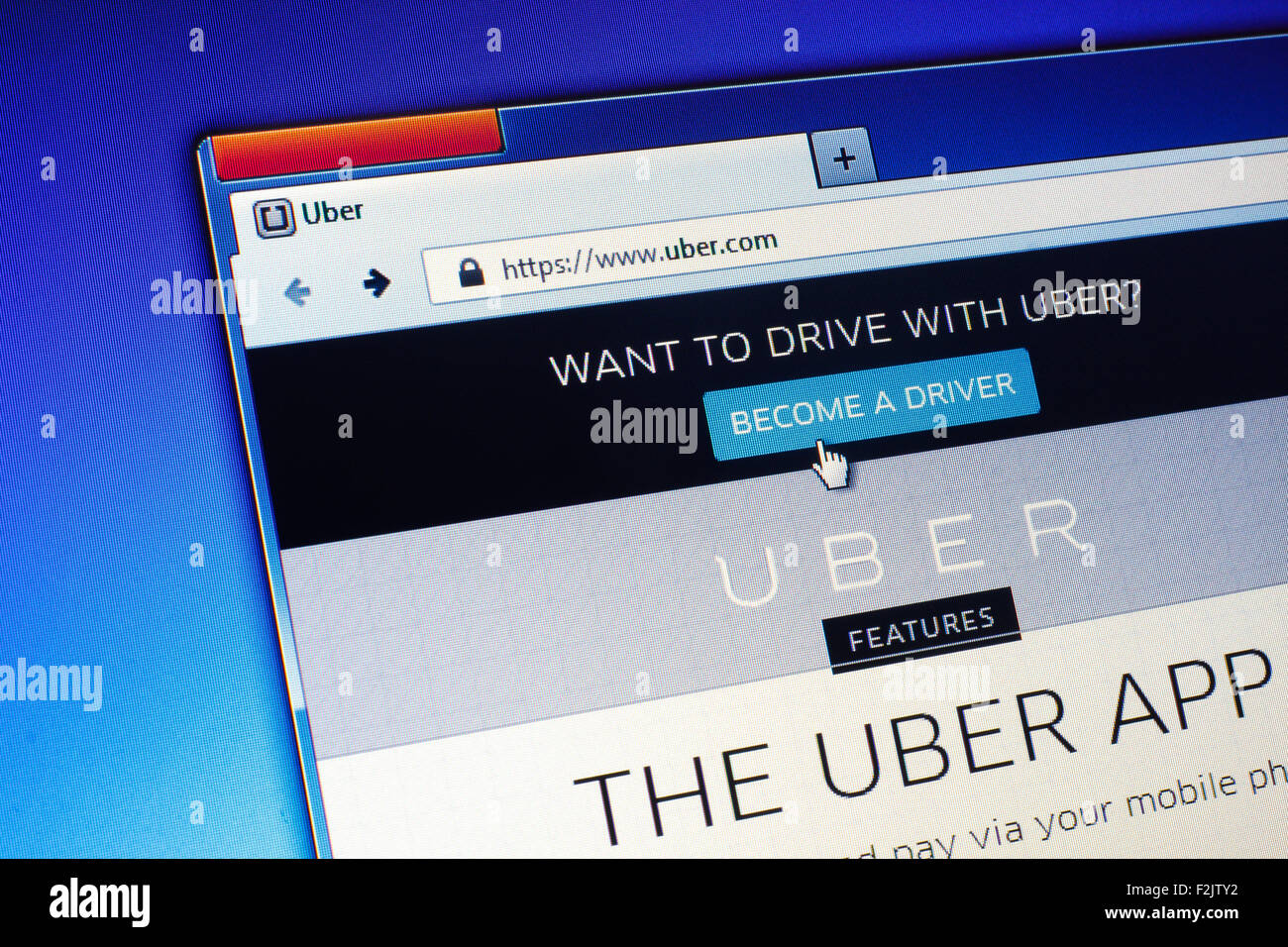 GDANSK, POLAND - JULY 21, 2015. Uber homepage on computer screen. Uber is an American international transportation - Stock Image