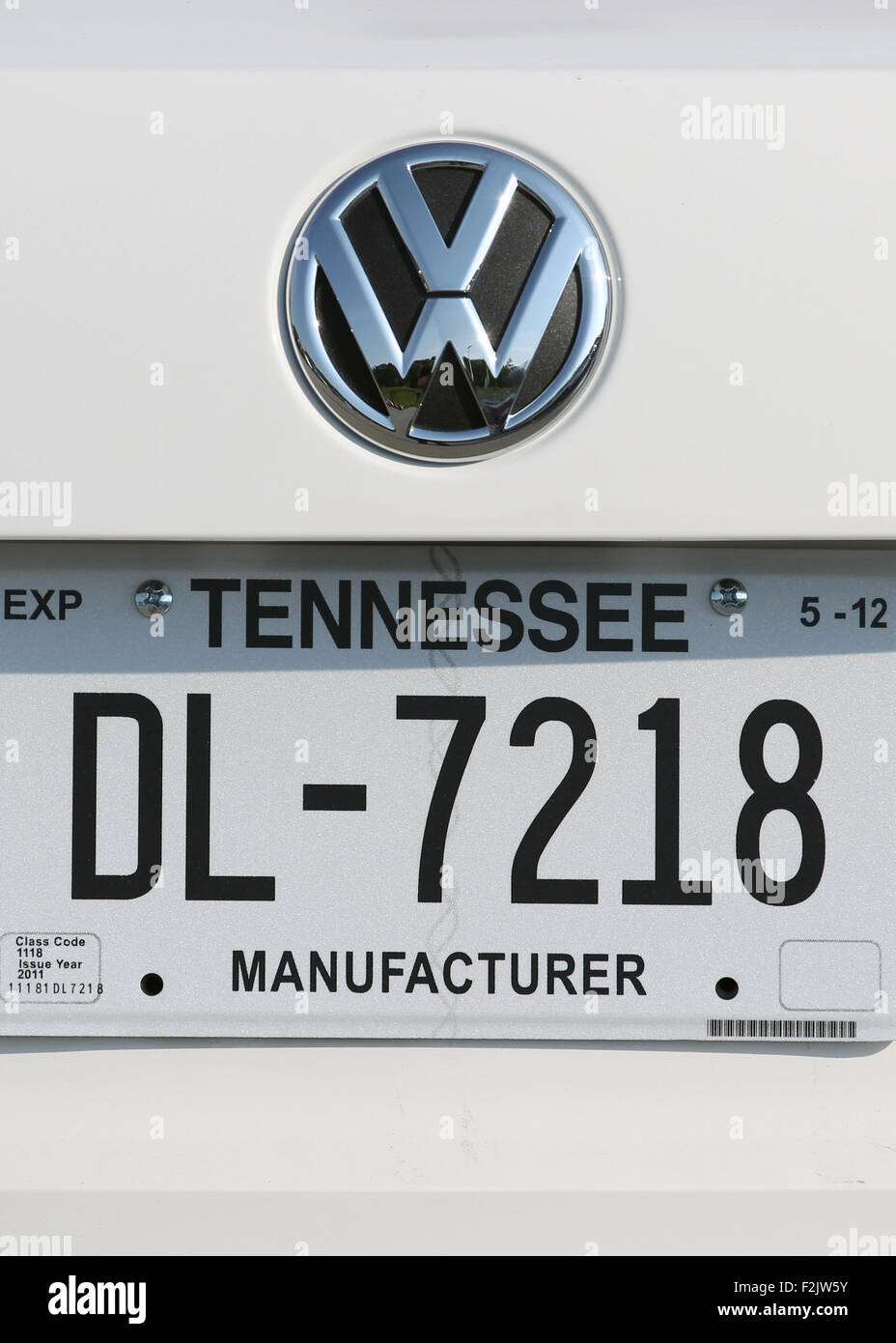 Handout) The license plate of a Volkswagen (VW) that stands in front ...