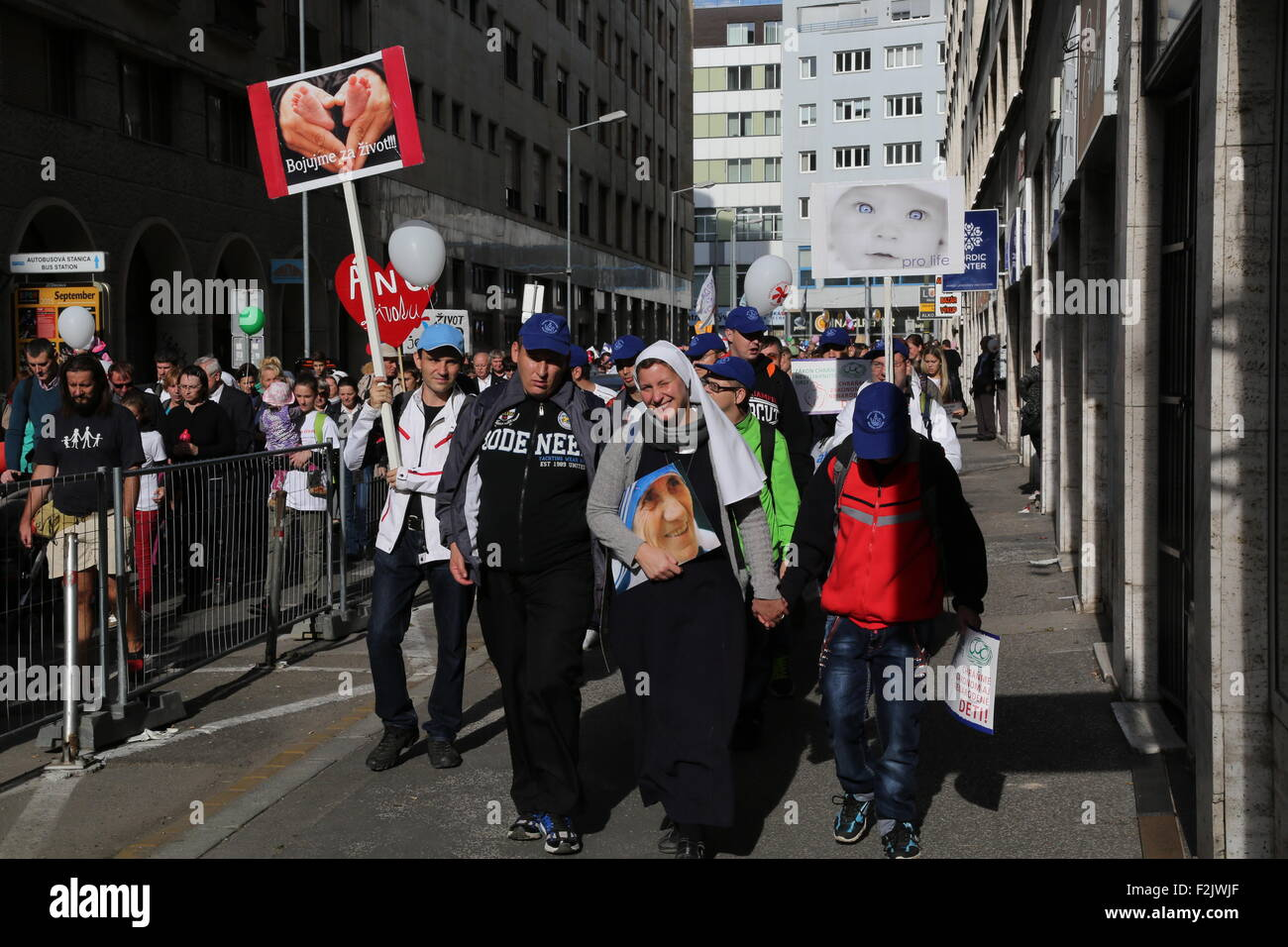 Bratislava, Slovakia. 20th Sep, 2015. People take part in the National March for Life in Bratislava, Slovakia, Sept. - Stock Image