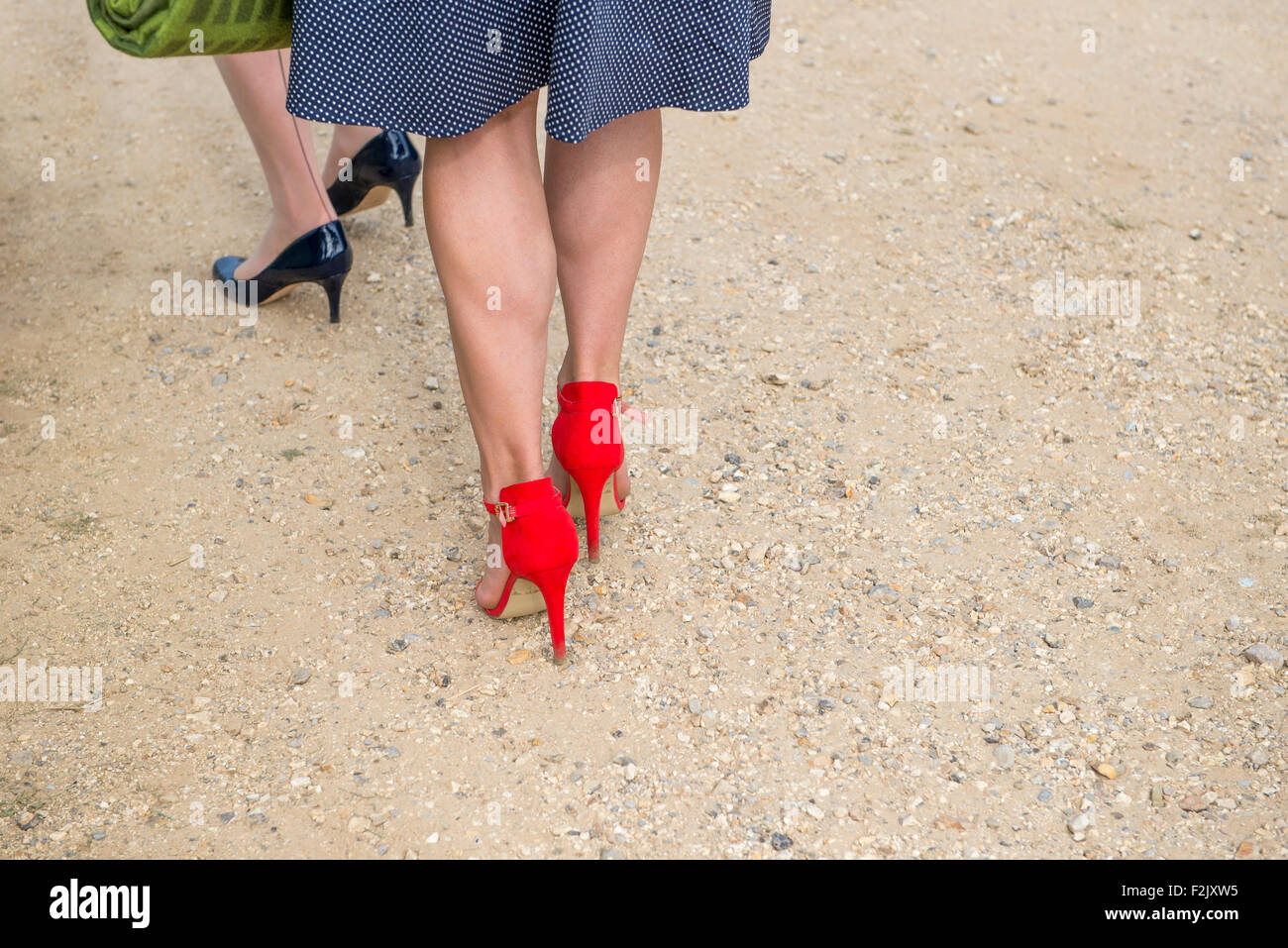 shapely womens legs dressed in stockings and wearing high heels red stilletto heeled shoes - Stock Image