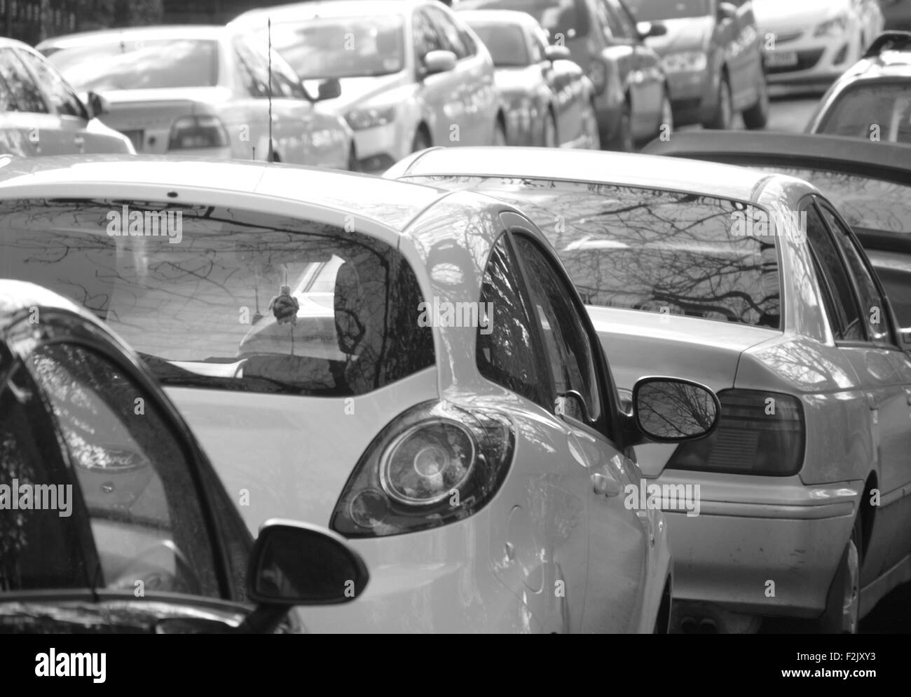Black and white image of cars parked in street - Stock Image