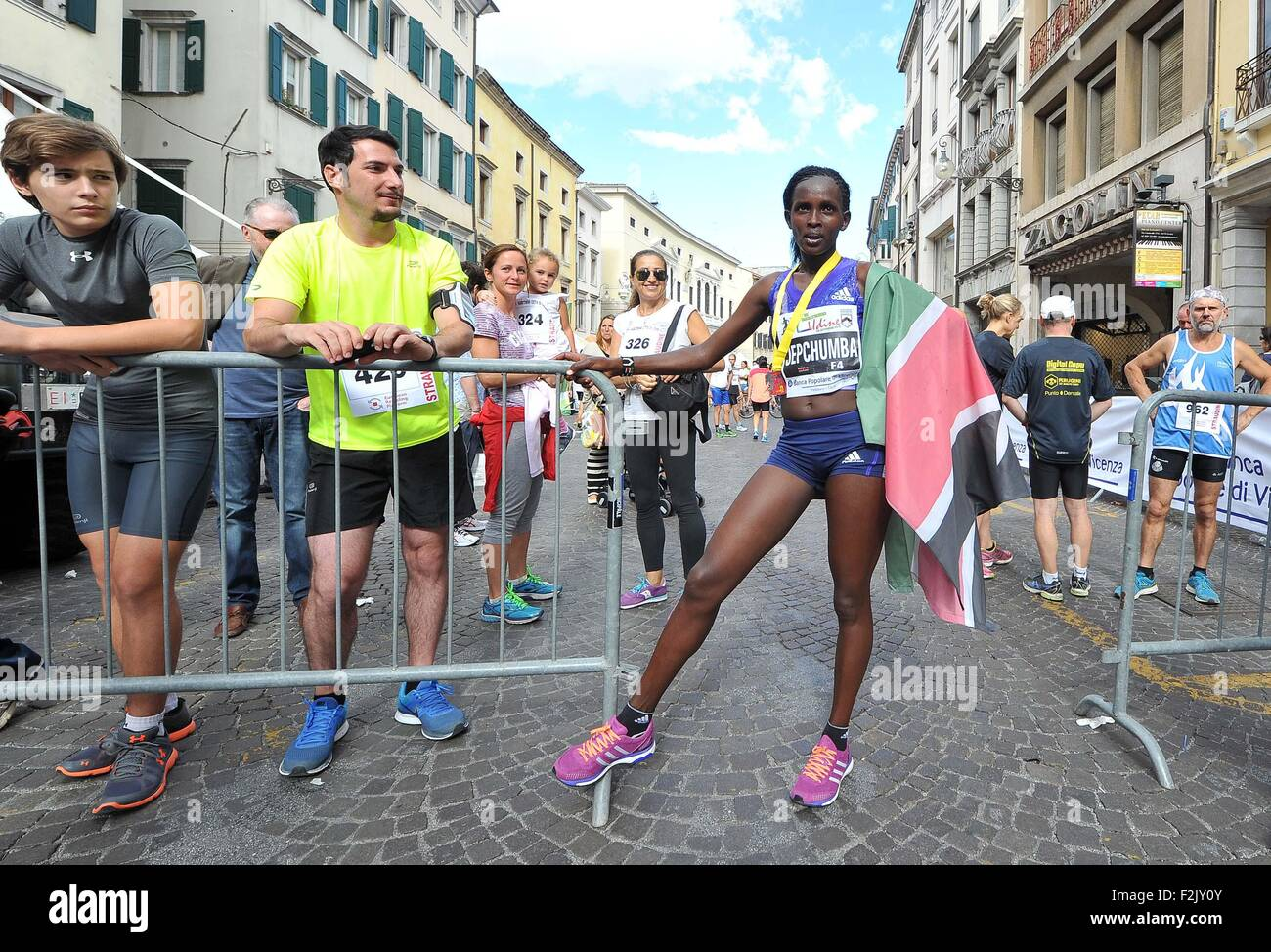 Udine, Italy. 20th September, 2015. Viola Jepchumba ,from Kenya, is the first woman at the finish of the Udine City - Stock Image