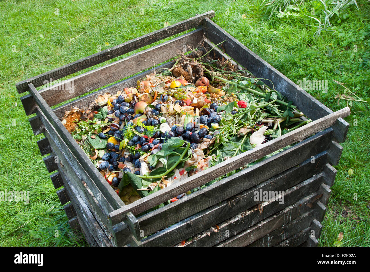 Compost bin in the garden. Composting pile of rotting kitchen fruits and vegetable scraps - Stock Image