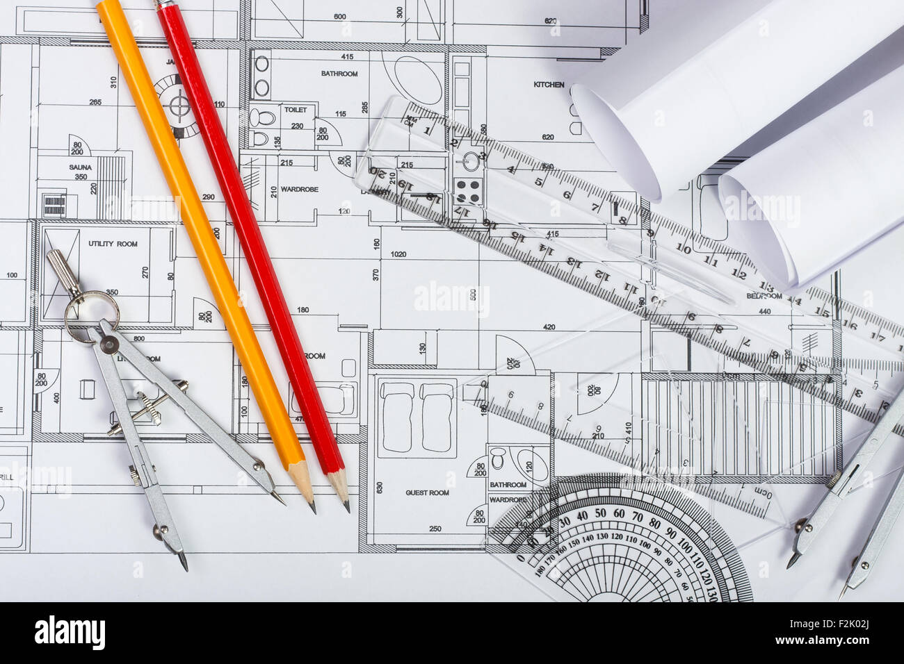 Architectural plans, pencils and ruler - Stock Image