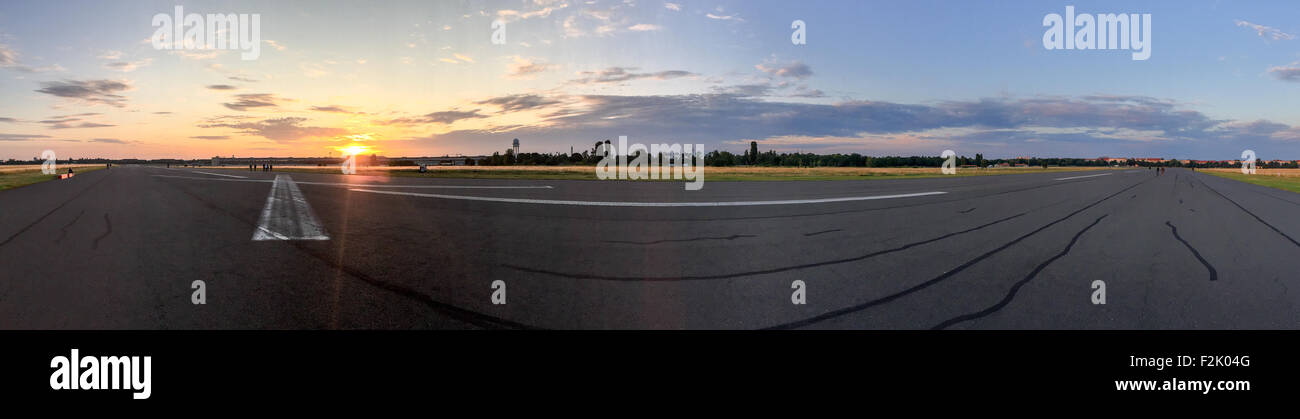 On Tempelhofer Feld on a summer evening in Berlin, Germany. - Stock Image