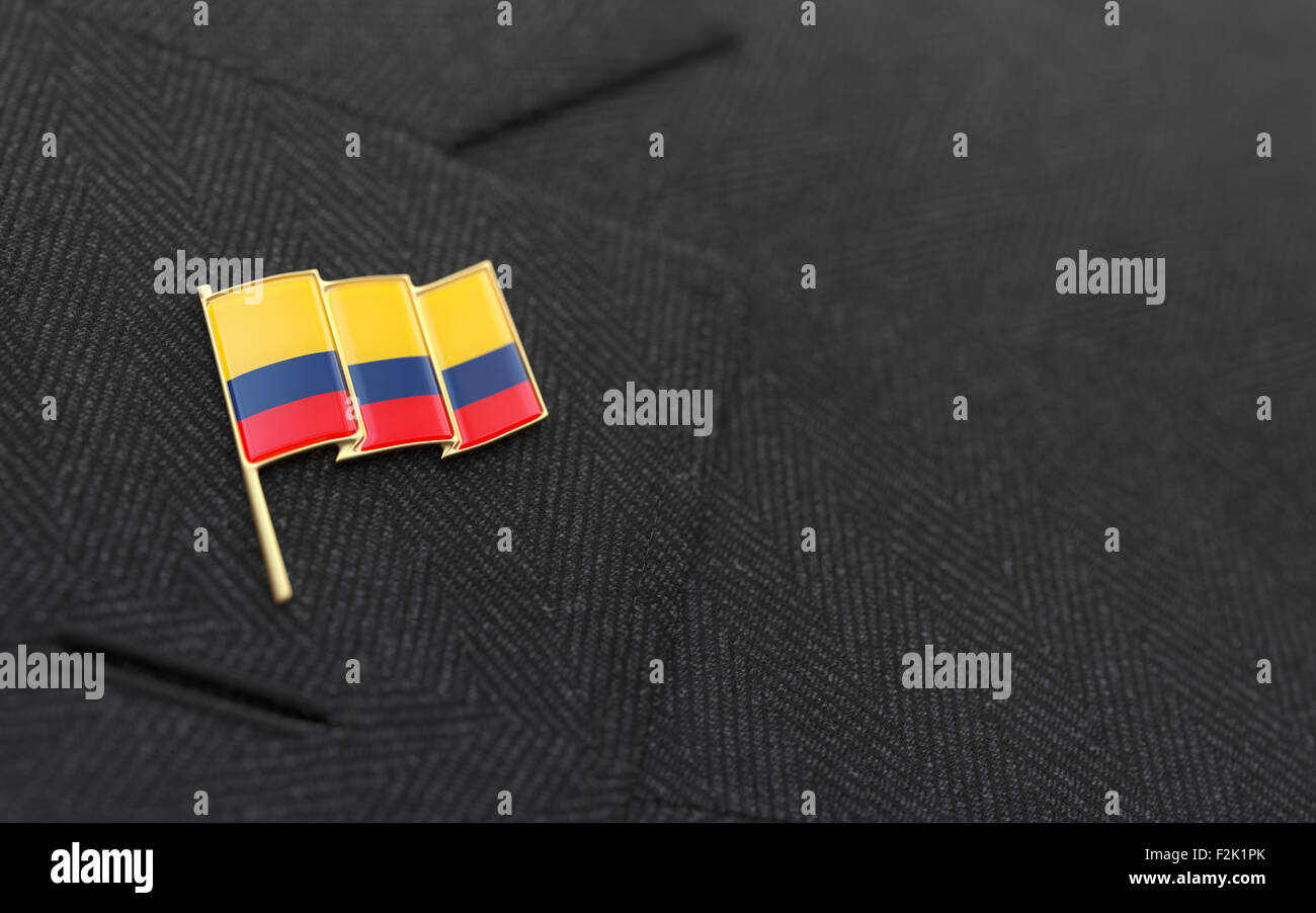 Delightful Colombia Flag Lapel Pin On The Collar Of A Business Suit Jacket Shows  Patriotism