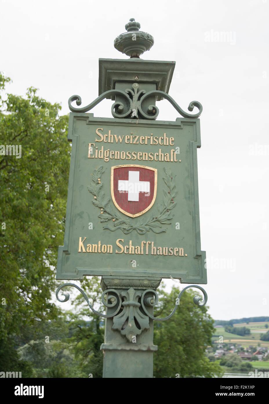 Swiss border post on the Swiss German border at Schaffhausen, - Stock Image