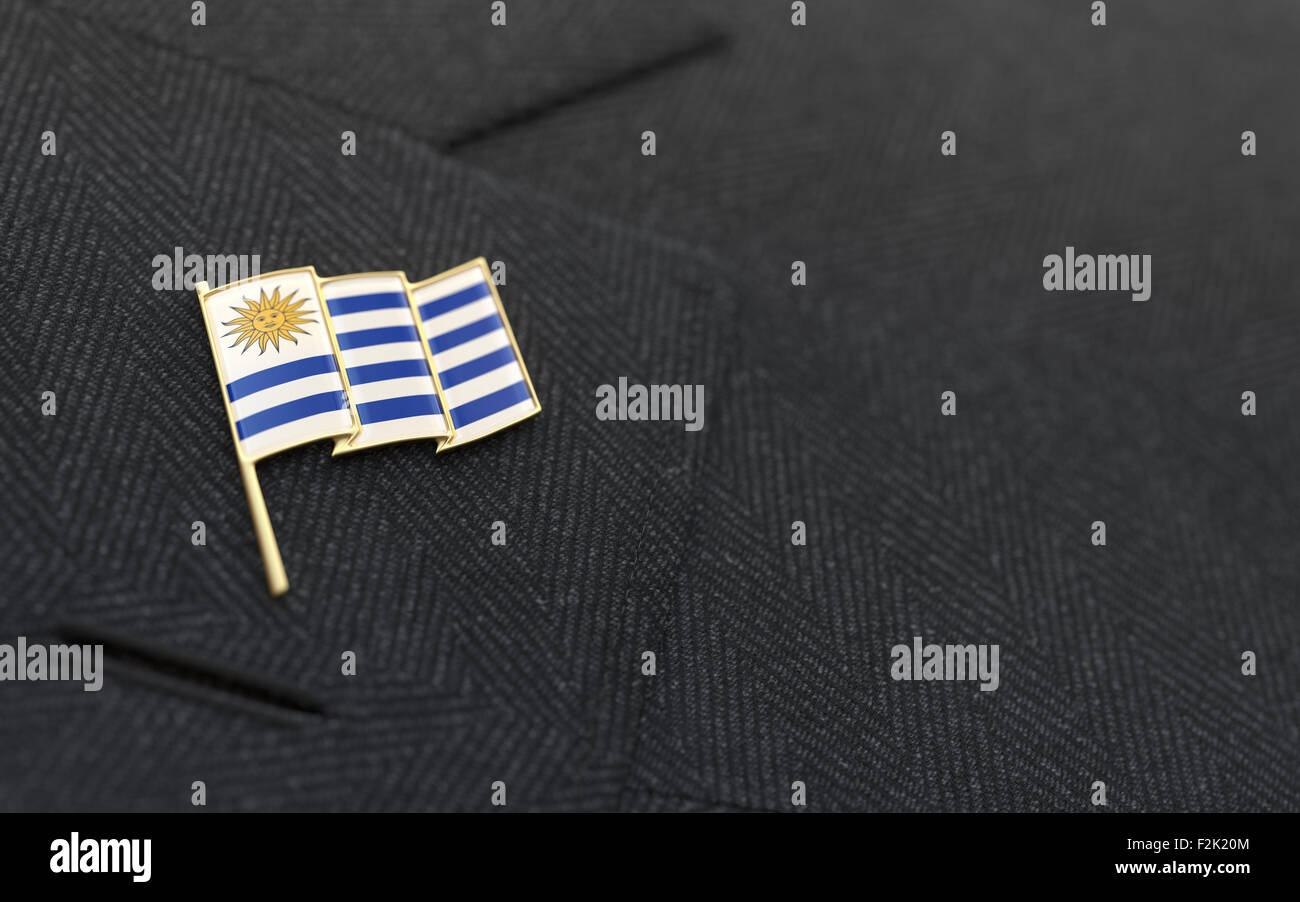 Uruguay Flag Lapel Pin On The Collar Of A Business Suit Jacket Shows  Patriotism   Stock