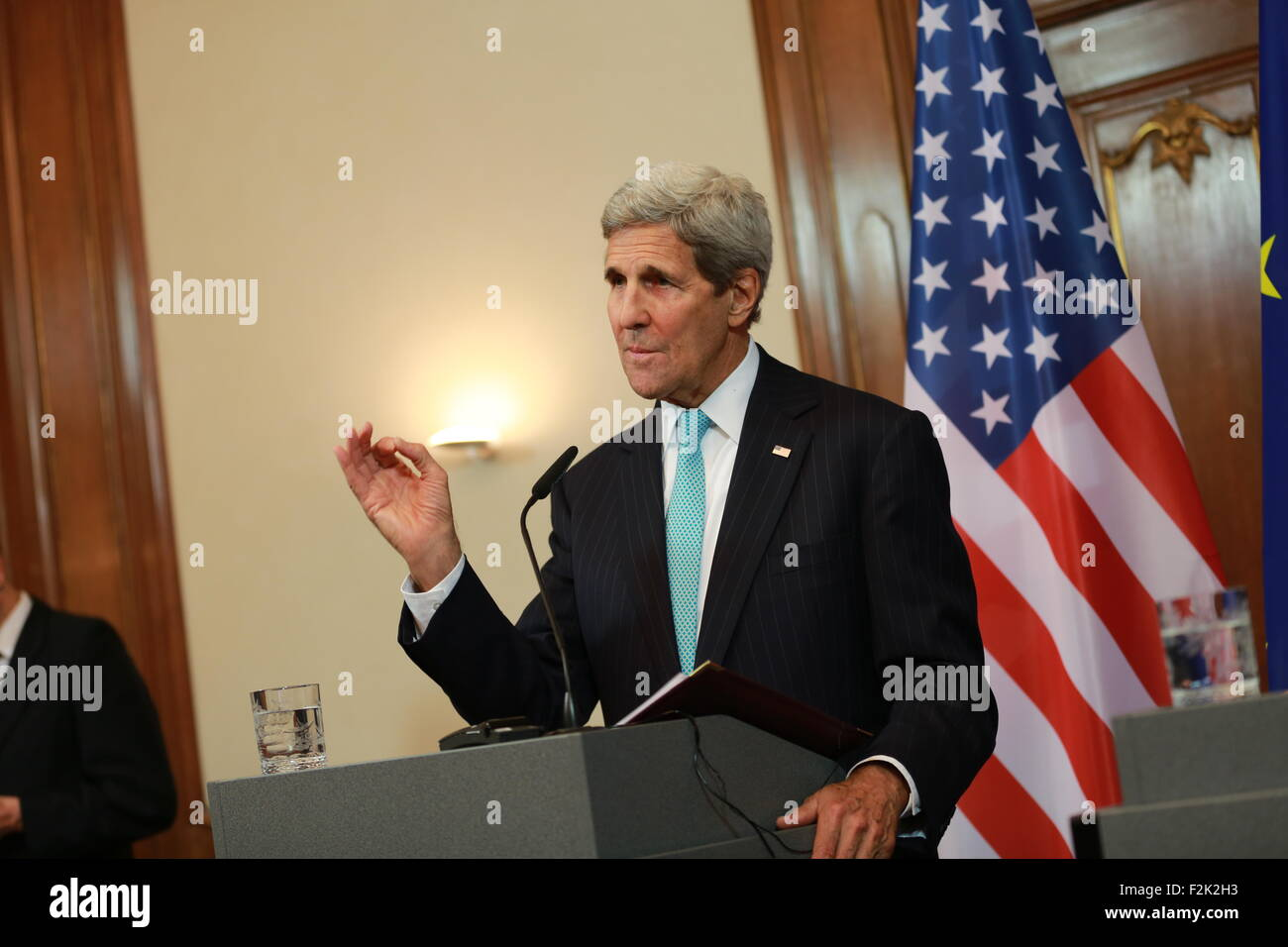 Berlin, Germany. 20th Sep, 2015. US Secretary of State John Kerry at the press conference in Berlin. US Secretary - Stock Image