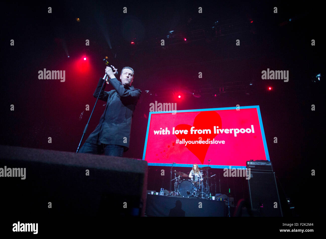 19/9/15 With Love From Liverpool Concert Peter Hooton is the vocalist of Liverpool-based group The Farm. - Stock Image